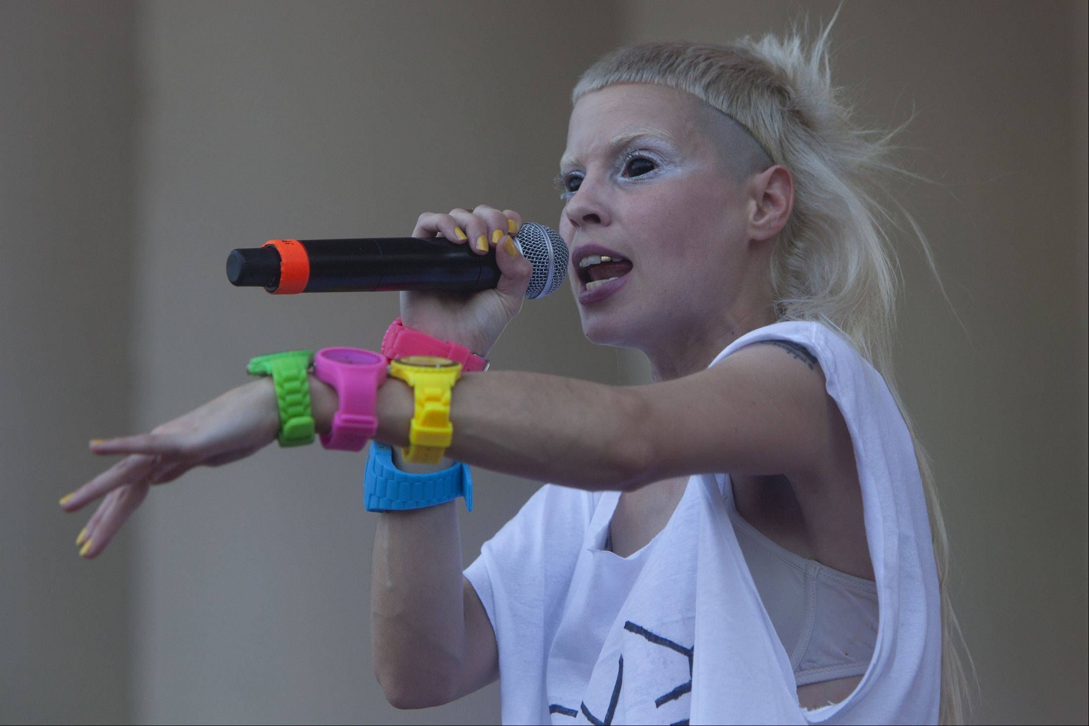 Die Antwoord's Yo-Landi Vi$$er, from the South African rap group, performs at LollaPalooza on Friday night.