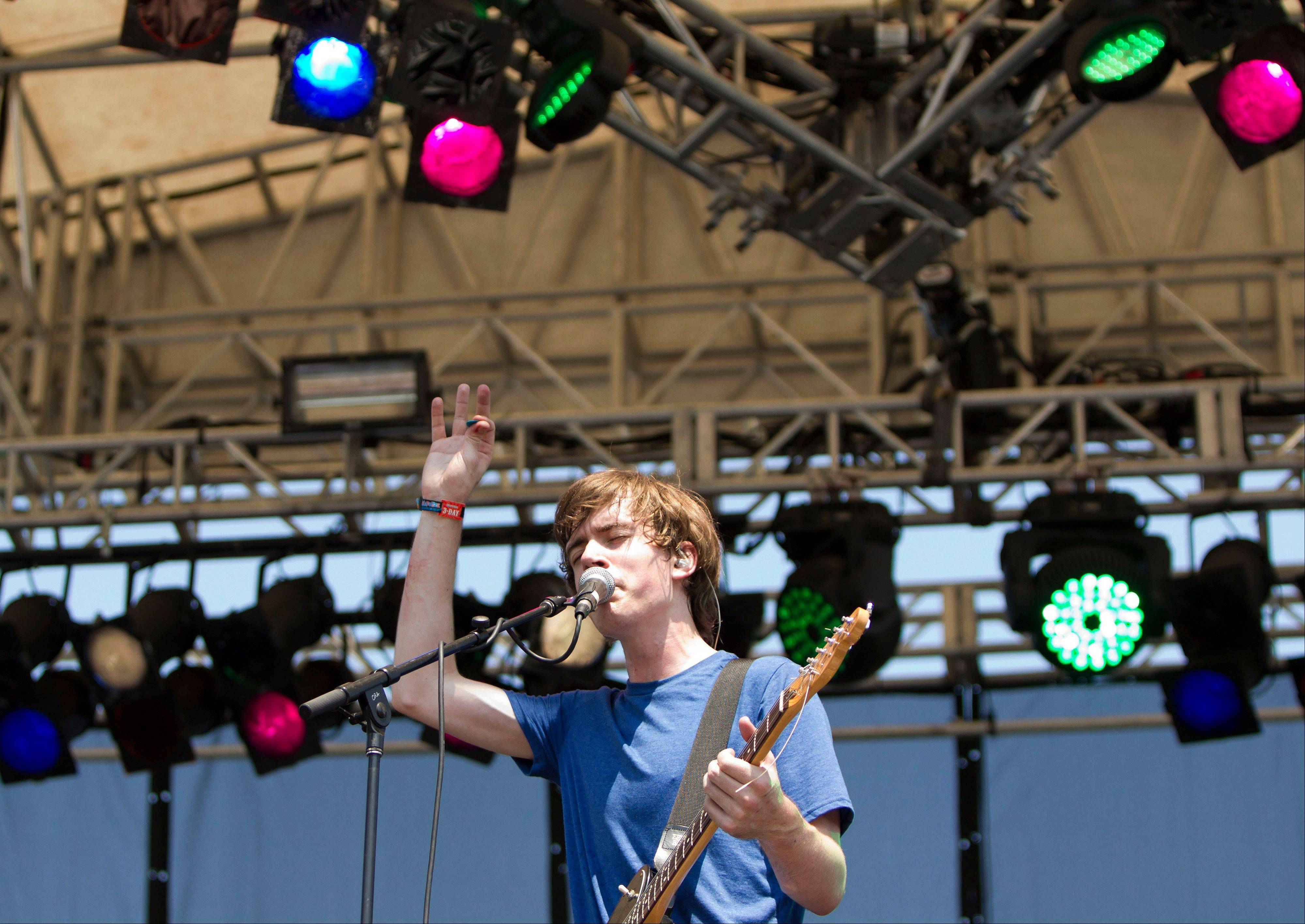 Alex Schaaf from Yellow Ostrich performs at Lollapalooza in Chicago's Grant Park on Friday, Aug. 3, 2012.