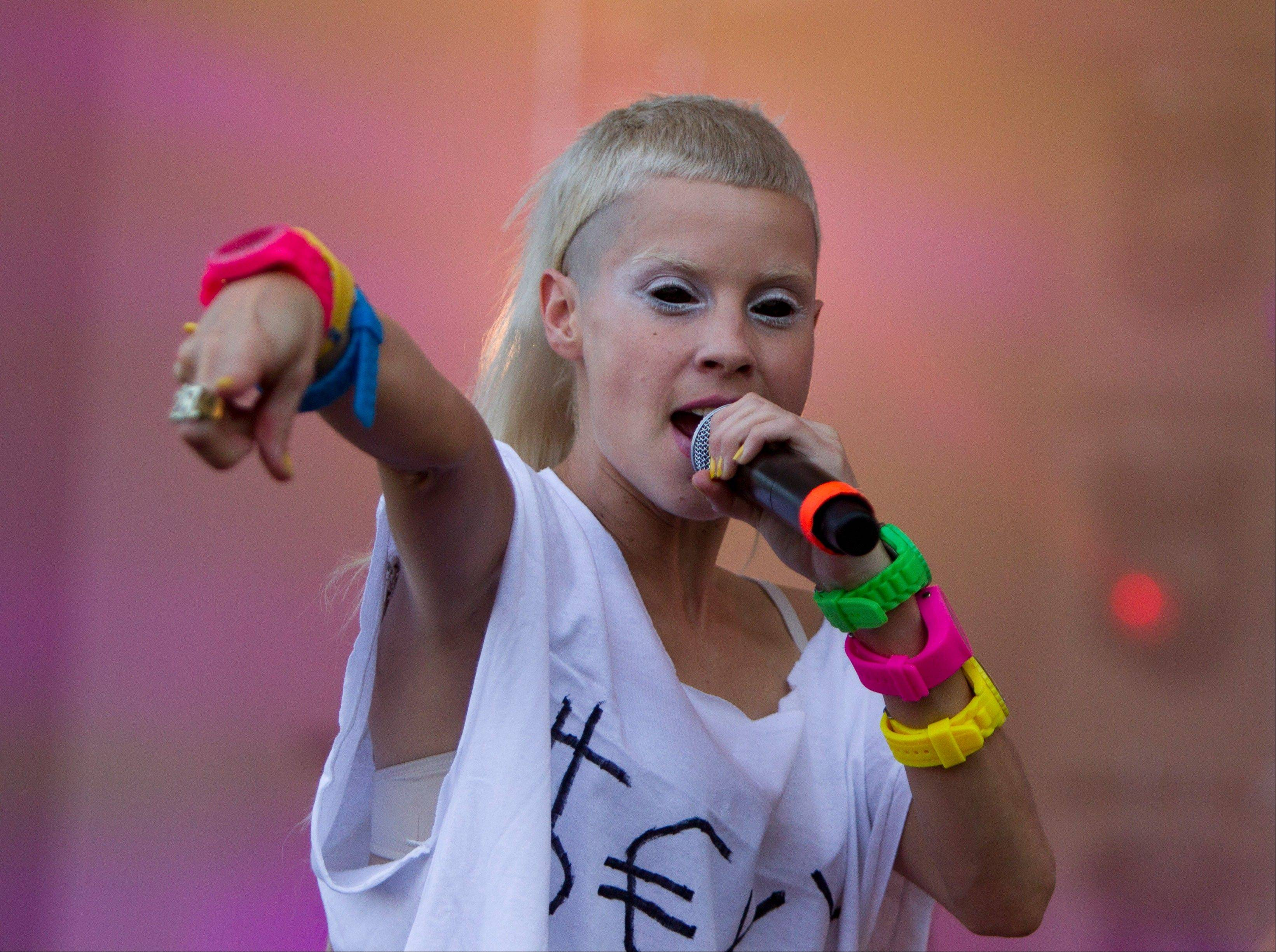 Yolandi Vi$$er from Die Antwoord performs at Lollapalooza in Chicago's Grant Park on Friday, Aug. 3, 2012.