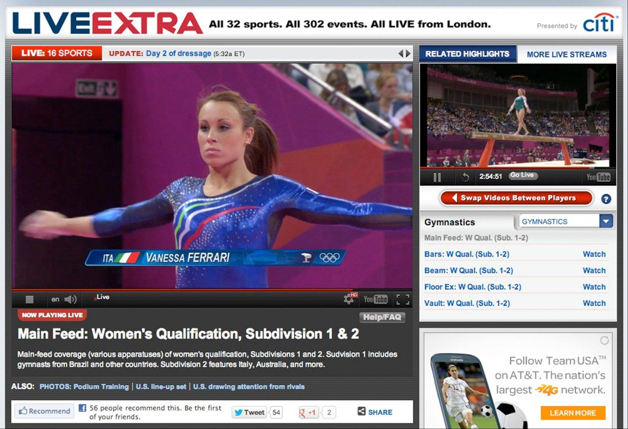 This image made from an NBC Sports website shows some of the live coverage they have offered. For the first time, NBC Sports is showing all competition and medal ceremonies live over the Internet in the U.S.