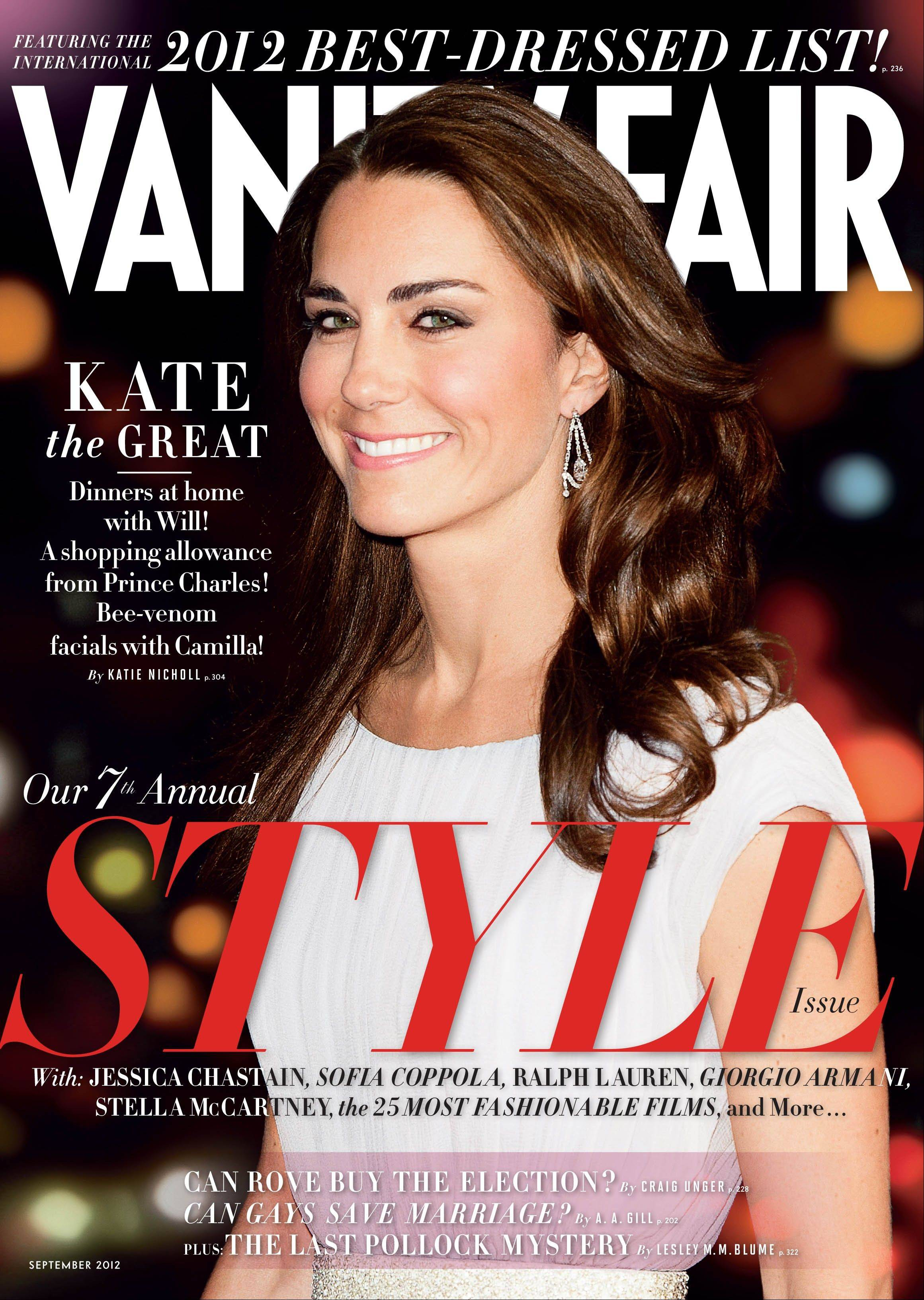 This magazine cover image shows Kate Middleton, the duchess of Cambridge, on the cover of the September 2012 issue of Vanity Fair. British royalty has made its mark atop Vanity Fair�s International Best Dressed List, with Kate Middleton and her brother-in-law, Prince Harry, both making this year�s slate. The September 2012 issue of Vanity Fair hits newsstands in New York and Los Angeles on August 2 and nationally and on the iPad on August 7.