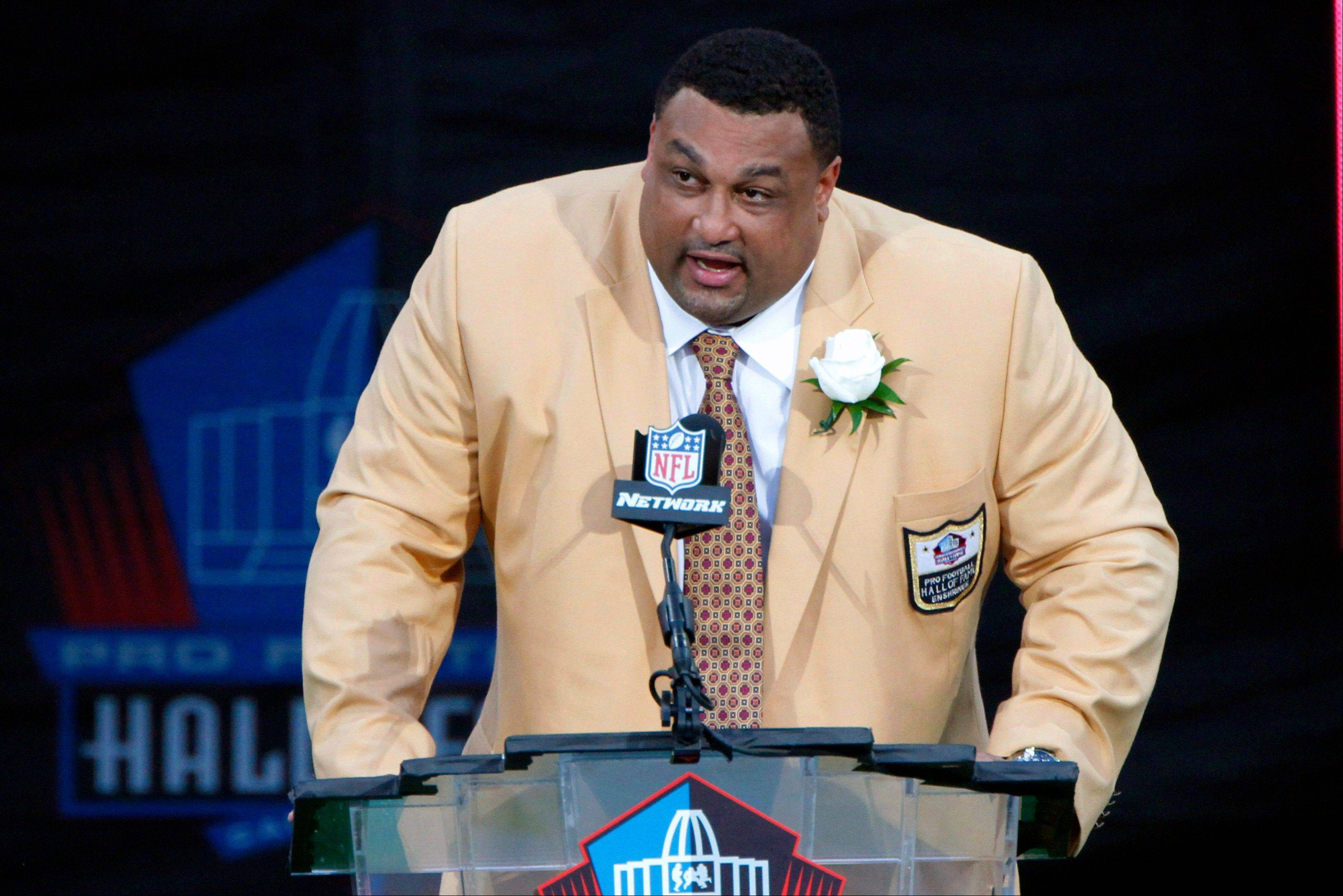 Former NFL player Willie Roaf speaks Saturday during his induction into the Pro Football Hall of Fame in Canton, Ohio.