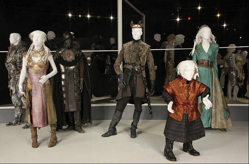 "Costumes from the TV show, ""Game of Thrones,"" are shown in the exhibit ""The Outstanding Art of Television Costume Design"" at FIDM in Los Angeles. ""Game of Thrones"" is nominated for 2012 Emmy for Outstanding Costume Design. The exhibition runs from July 31 through October 20."