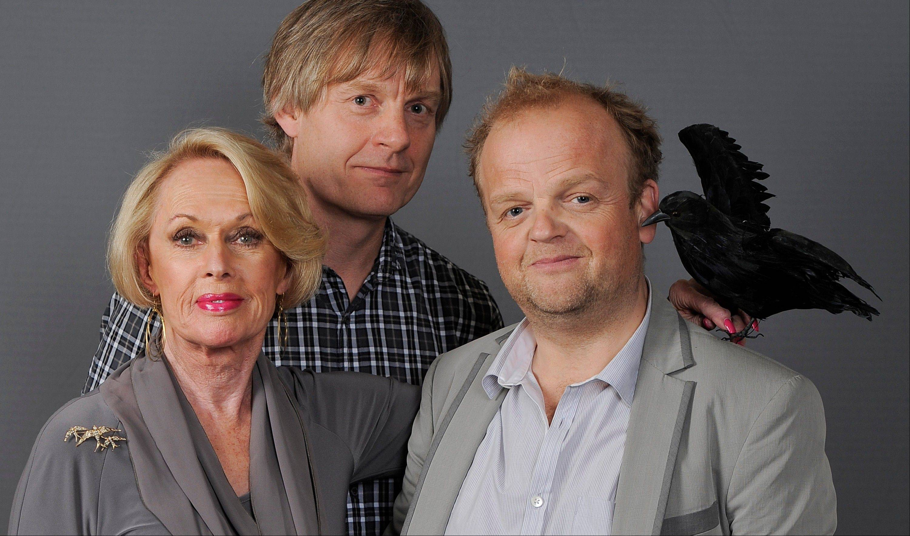"Actress Tippi Hedren, left, star of the 1963 Alfred Hitchcock film ""The Birds,"" poses with Julian Jarrold, center, director of the new HBO film ""The Girl,"" and cast member Toby Jones on Aug. 1 in Beverly Hills, Calif. Hedren's experience on the famed British film director's ""The Birds"" and ""Marnie"" is dramatized in ""The Girl."" Sienna Miller plays Hedren and Toby Jones portrays Hitchcock in ""The Girl,"" which debuts Oct. 20 on HBO."