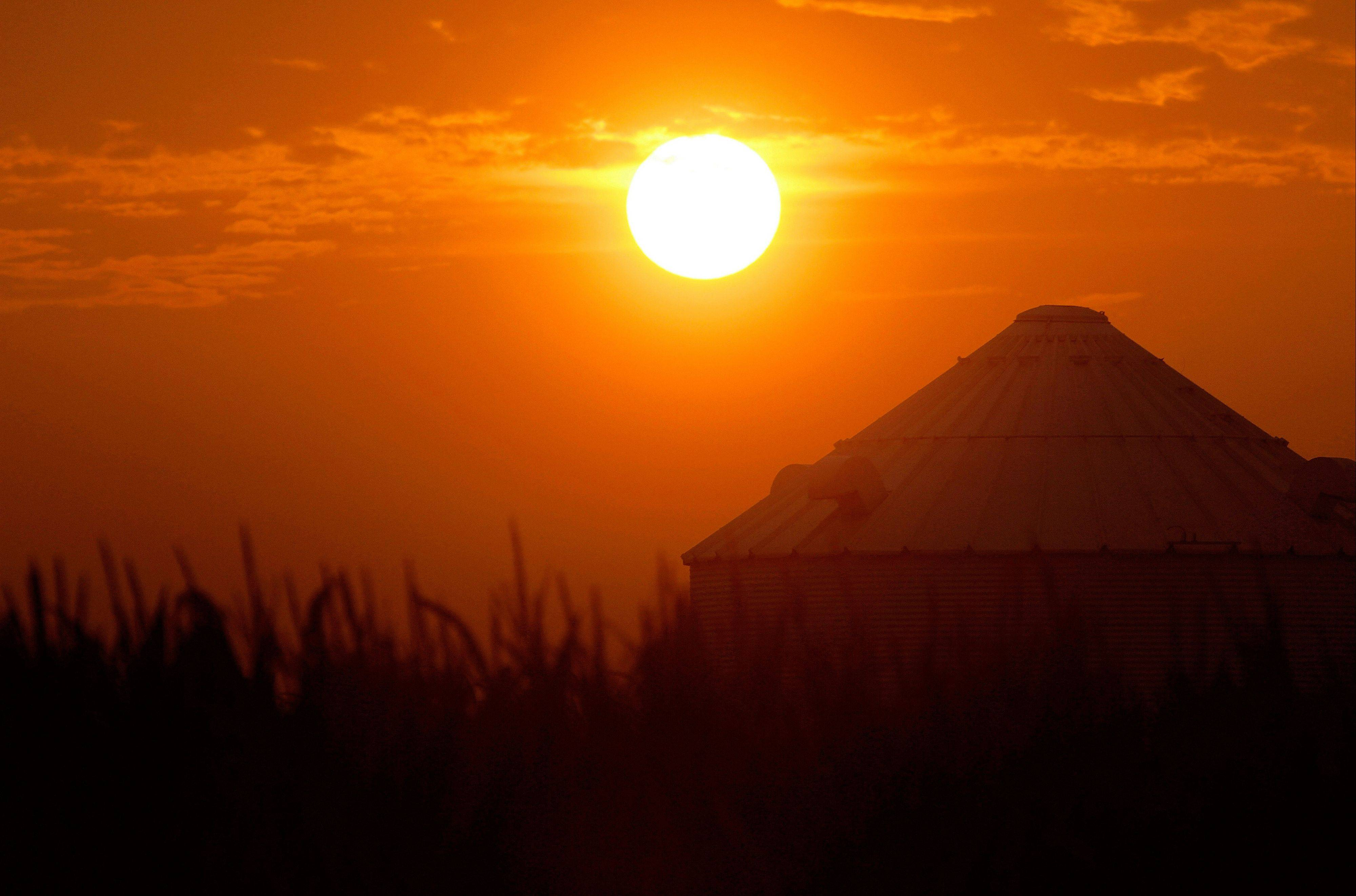 The sun rises over grain bins and a drought struggling corn crop Saturday in Ashland, Ill. The latest U.S. Drought Monitor survey shows an increase in extreme drought conditions in four Plains states. A new study finds that the extreme heat has a direct correlation to climate change.