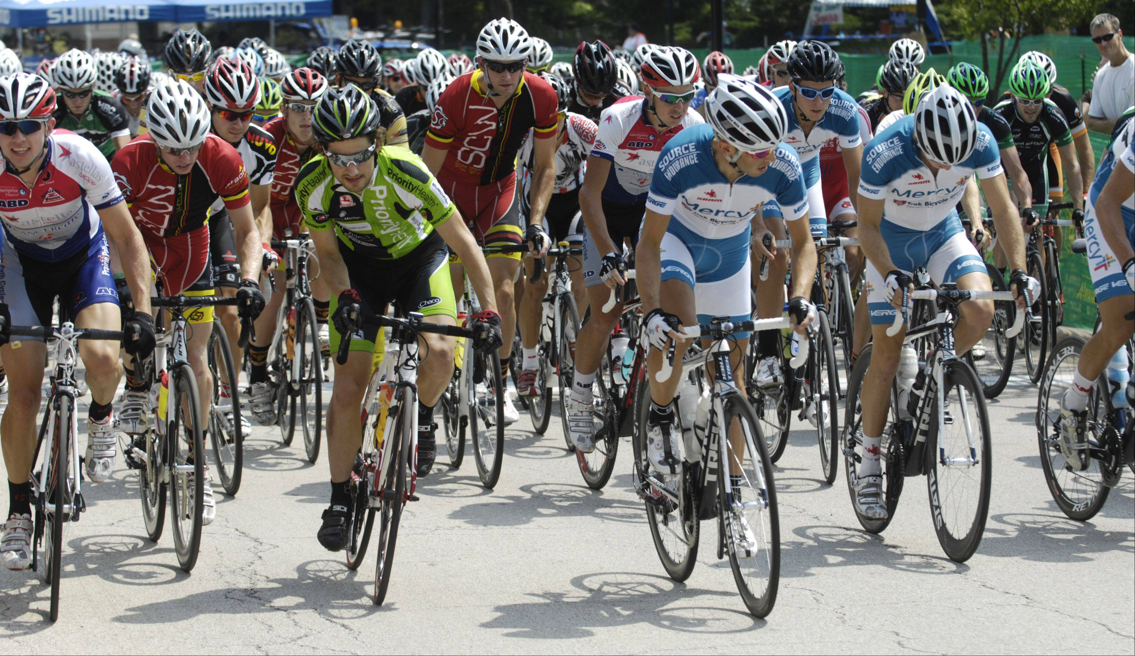 Riders compete in the ComEd Category 1/2 during the Tour of Elk Grove Saturday.