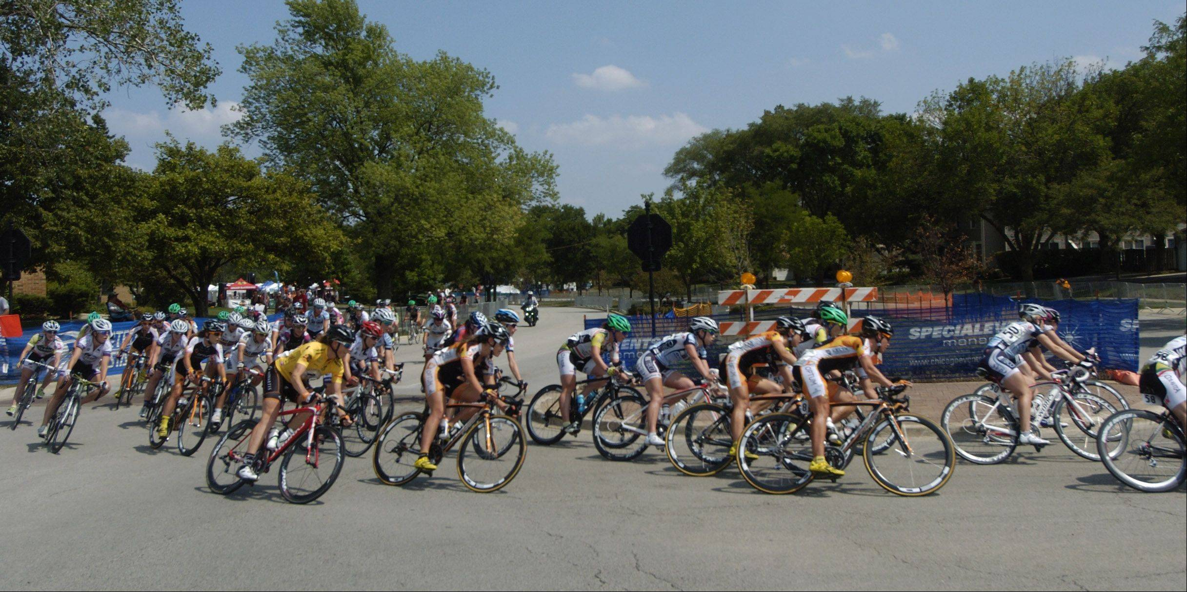 Riders compete in the Comcast Pro Women's Stage 2-Criterium during the Tour of Elk Grove Saturday.