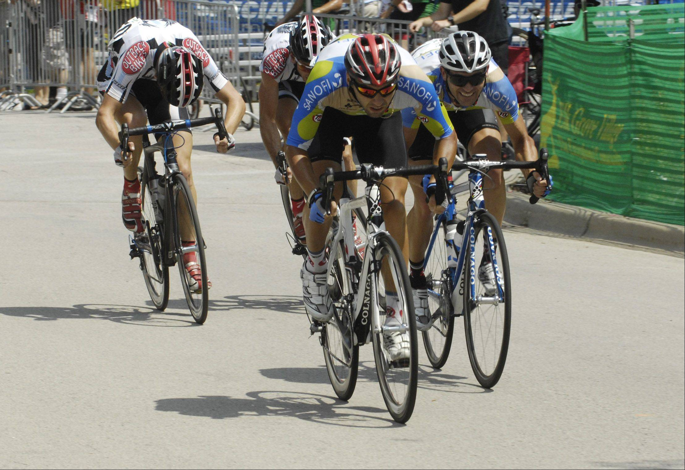 Riders head for the finish line in the ComEd Category 1/2 during the Tour of Elk Grove Saturday.
