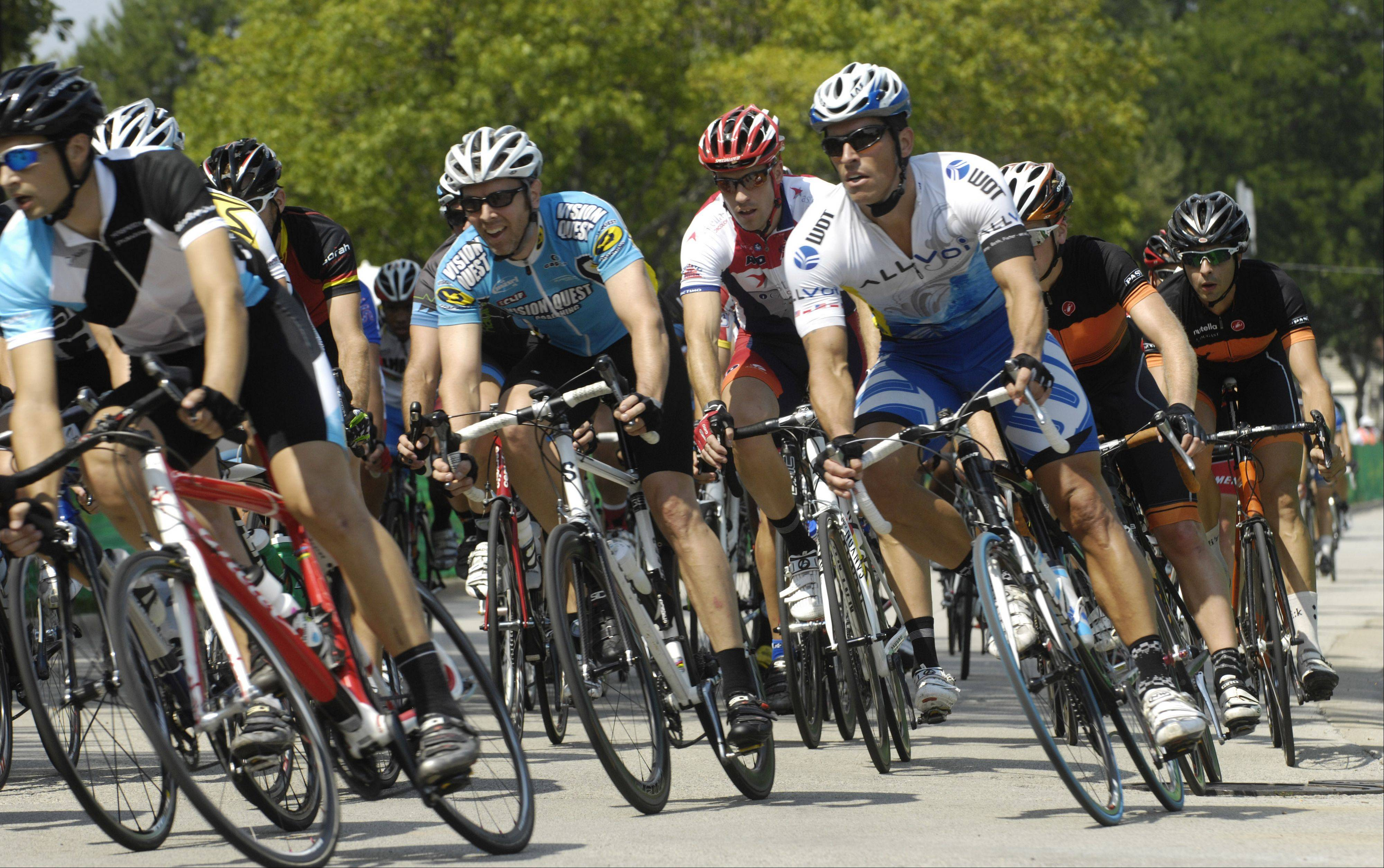 Riders compete in the Rocco Vino's Category 3 during the Tour of Elk Grove Saturday.