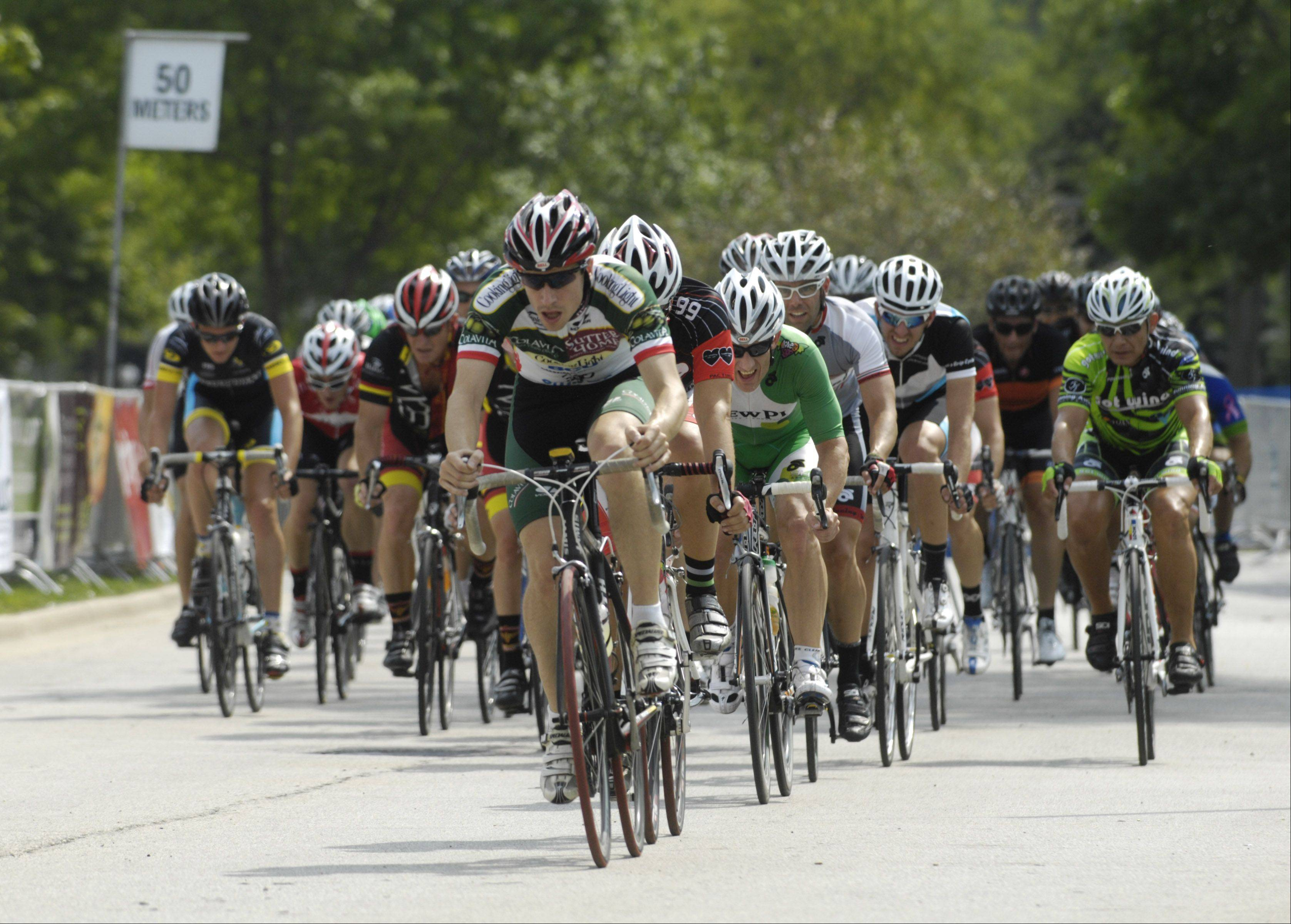 Riders compete in the Jersey Mike's Category 4 during the Tour of Elk Grove Saturday.