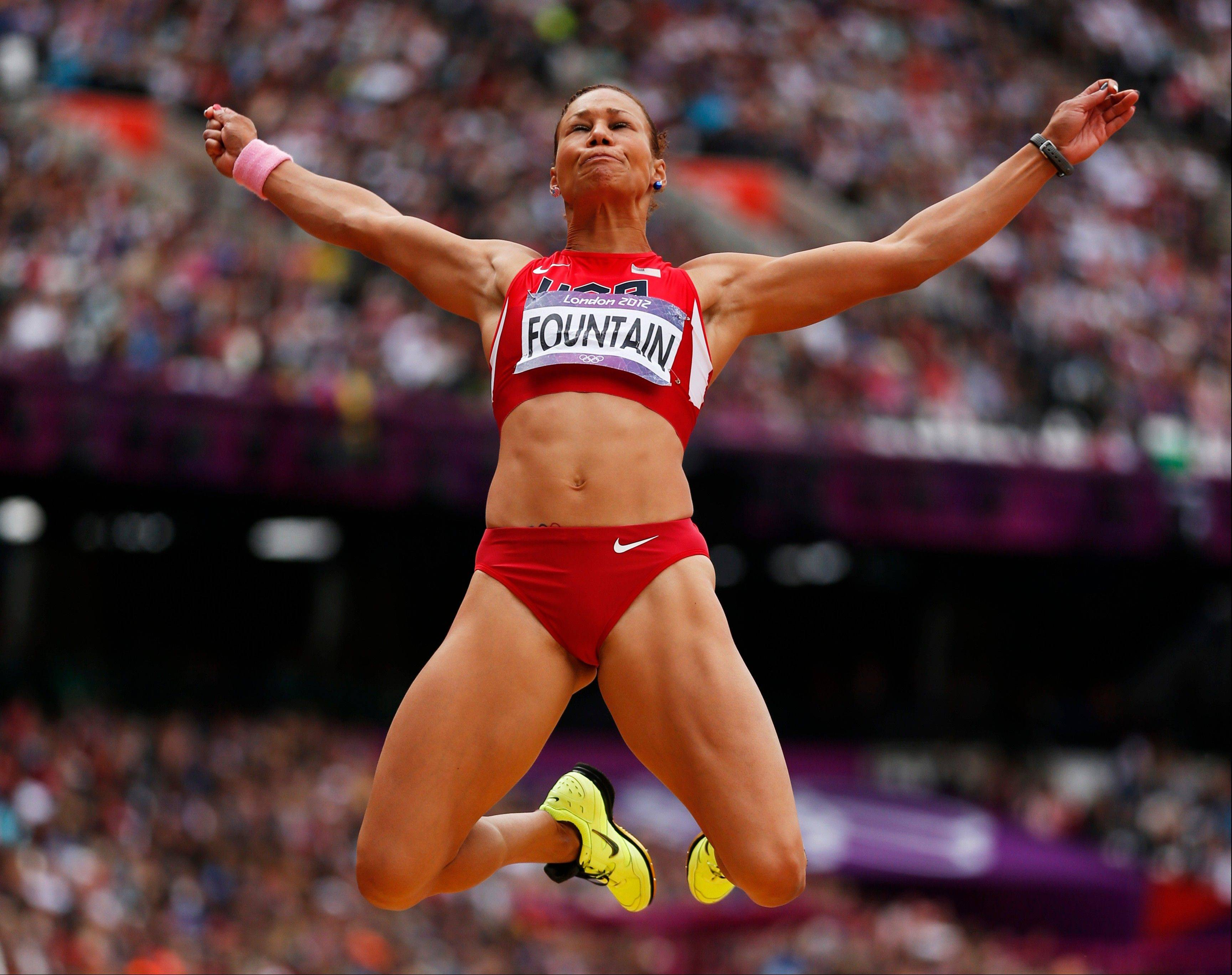 United States' Hyleas Fountain competes in the long jump heptathlon during the athletics in the Olympic Stadium at the 2012 Summer Olympics, London, Saturday, Aug. 4, 2012.
