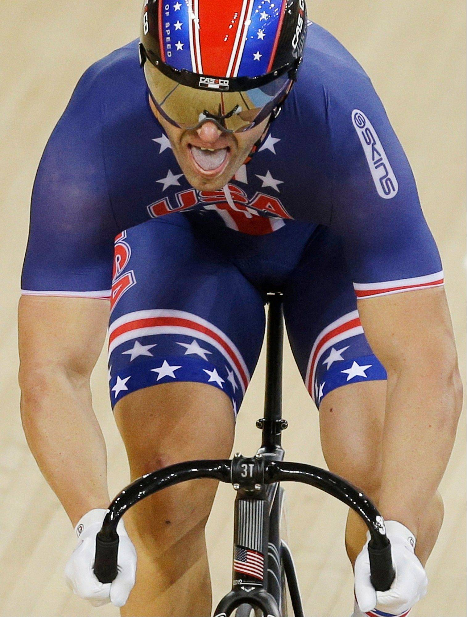 Jimmy Watkins, of the United States, competes during a track cycling men's sprint event, during the 2012 Summer Olympics, Saturday, Aug. 4, 2012, in London.