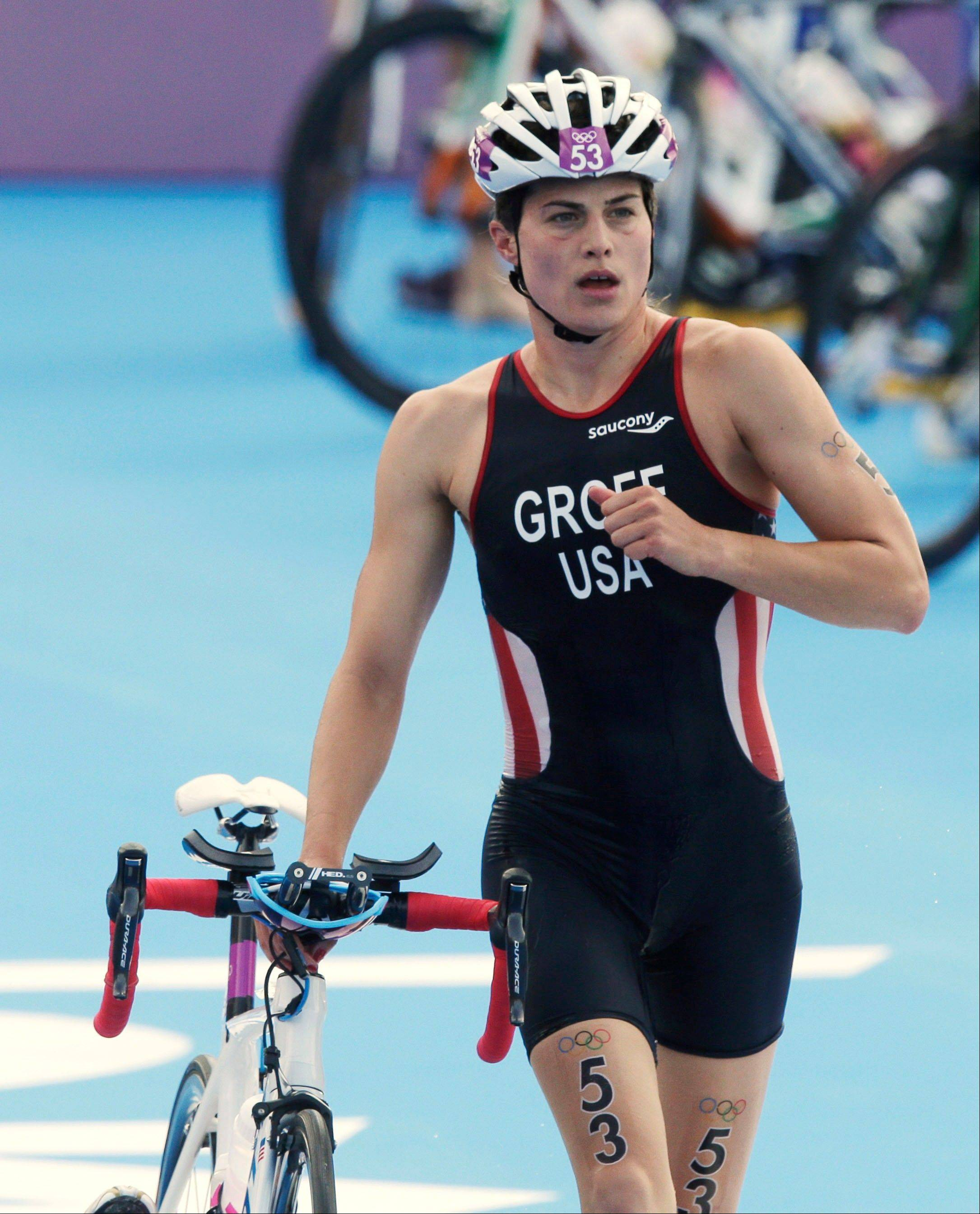 United States' Sarah Groff leaves the transition during the triathlon at the 2012 Summer Olympics, Saturday, Aug. 4, 2012, in London.