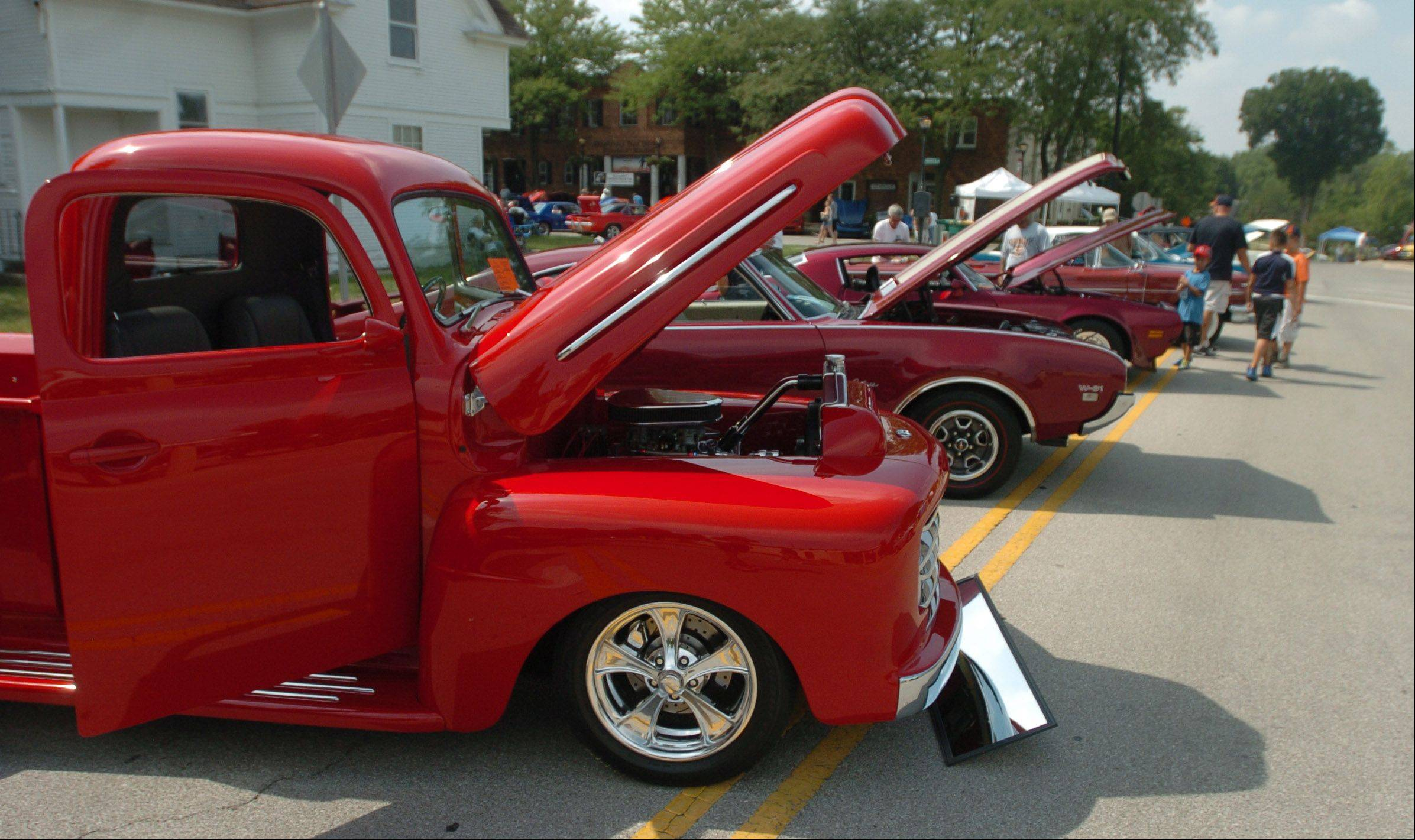 The car show at Summer Daze in Warrenville offered 80 cars for auto lovers to inspect and admire. The festival also included music, food, bounce houses and a zip line.