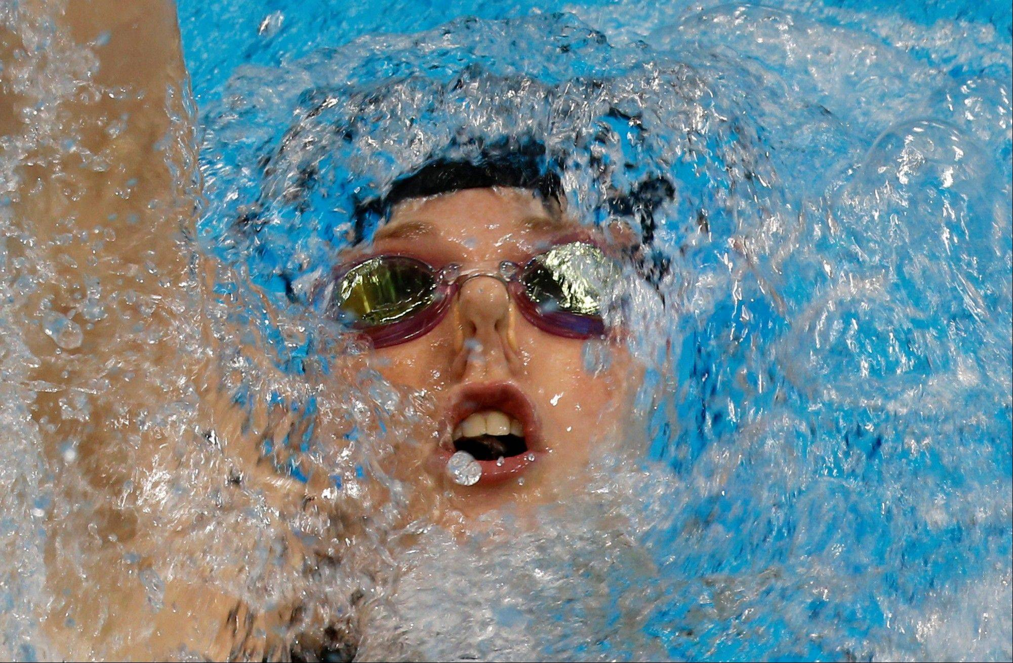 United States' Missy Franklin competes in the women's 200-meter backstroke final at the Aquatics Centre in the Olympic Park during the 2012 Summer Olympics in London, Friday, Aug. 3, 2012. Franklin won the gold.