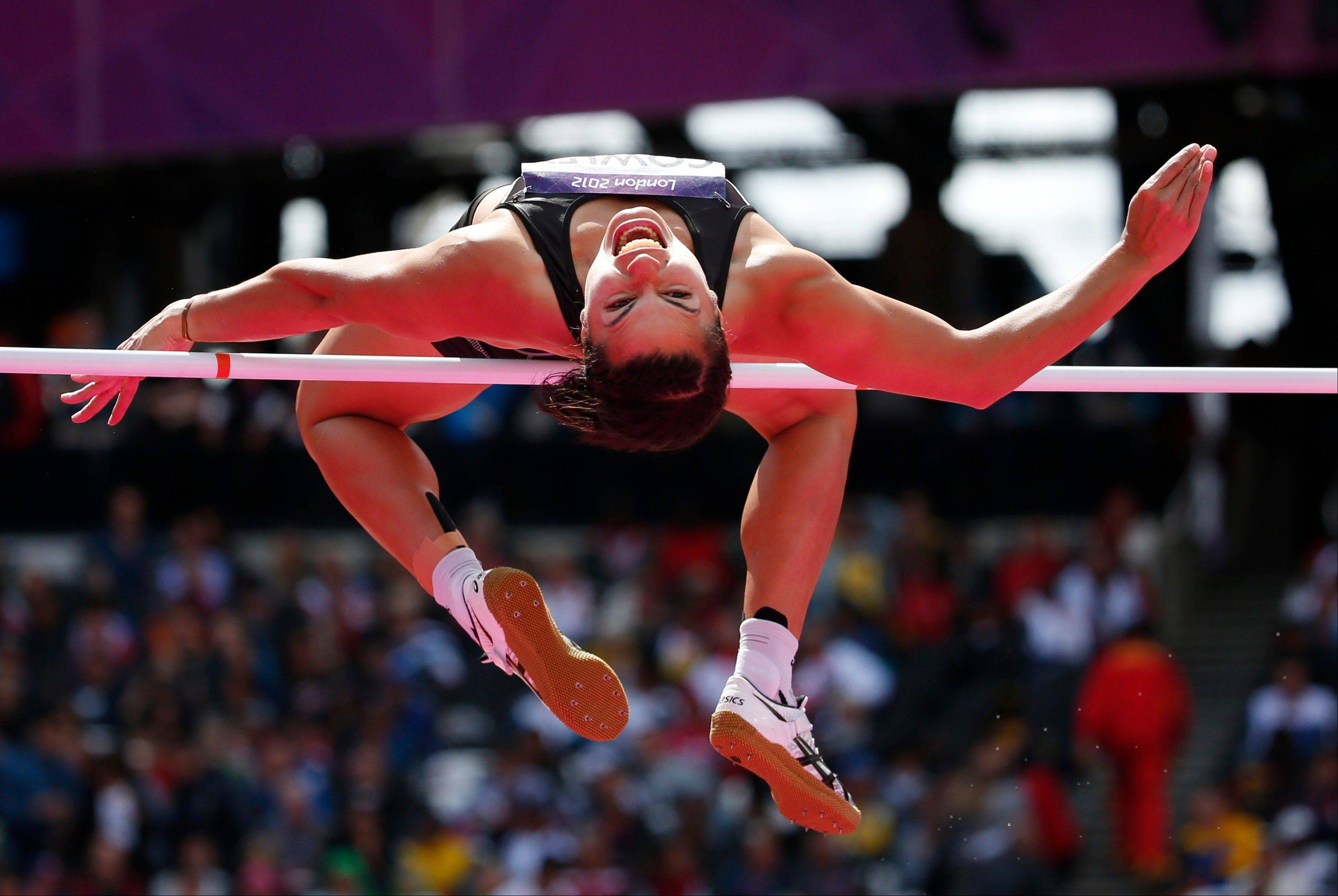 New Zealand's Sarah Cowley makes an attempt in the High Jump of the women's Heptathlon during the athletics in the Olympic Stadium at the 2012 Summer Olympics, London, Friday, Aug. 3, 2012.