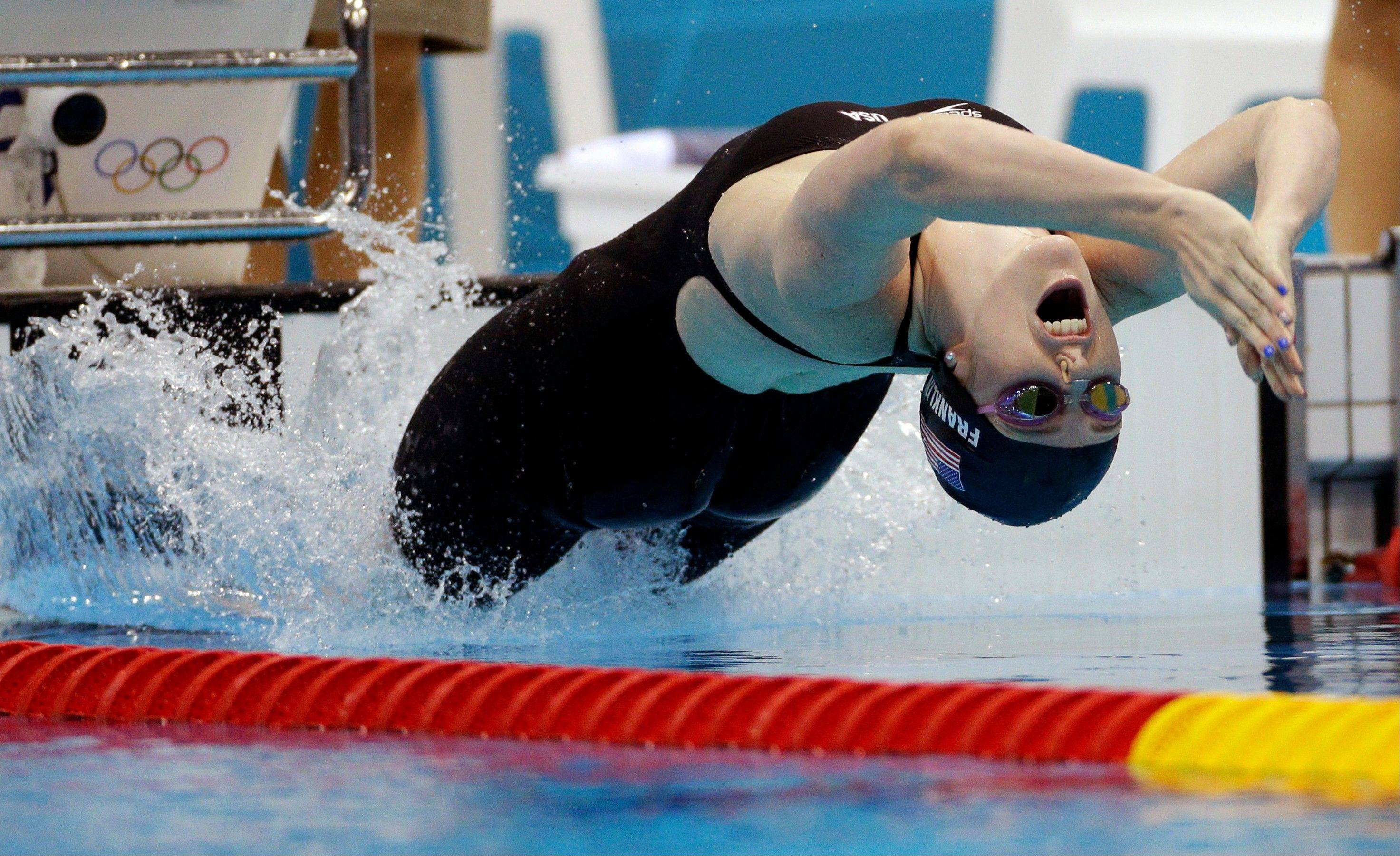 United States' Missy Franklin starts in the women's 200-meter backstroke final at the Aquatics Centre in the Olympic Park during the 2012 Summer Olympics in London, Friday, Aug. 3, 2012. Franklin won a gold medal in the event.