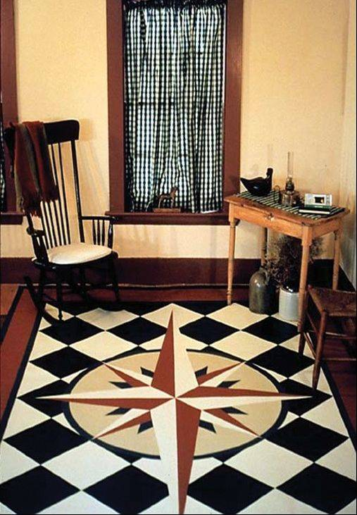 "Lisa Mair created this ""Mariner's Compass"" floorcloth. Mair often combines elements of history, children and math."