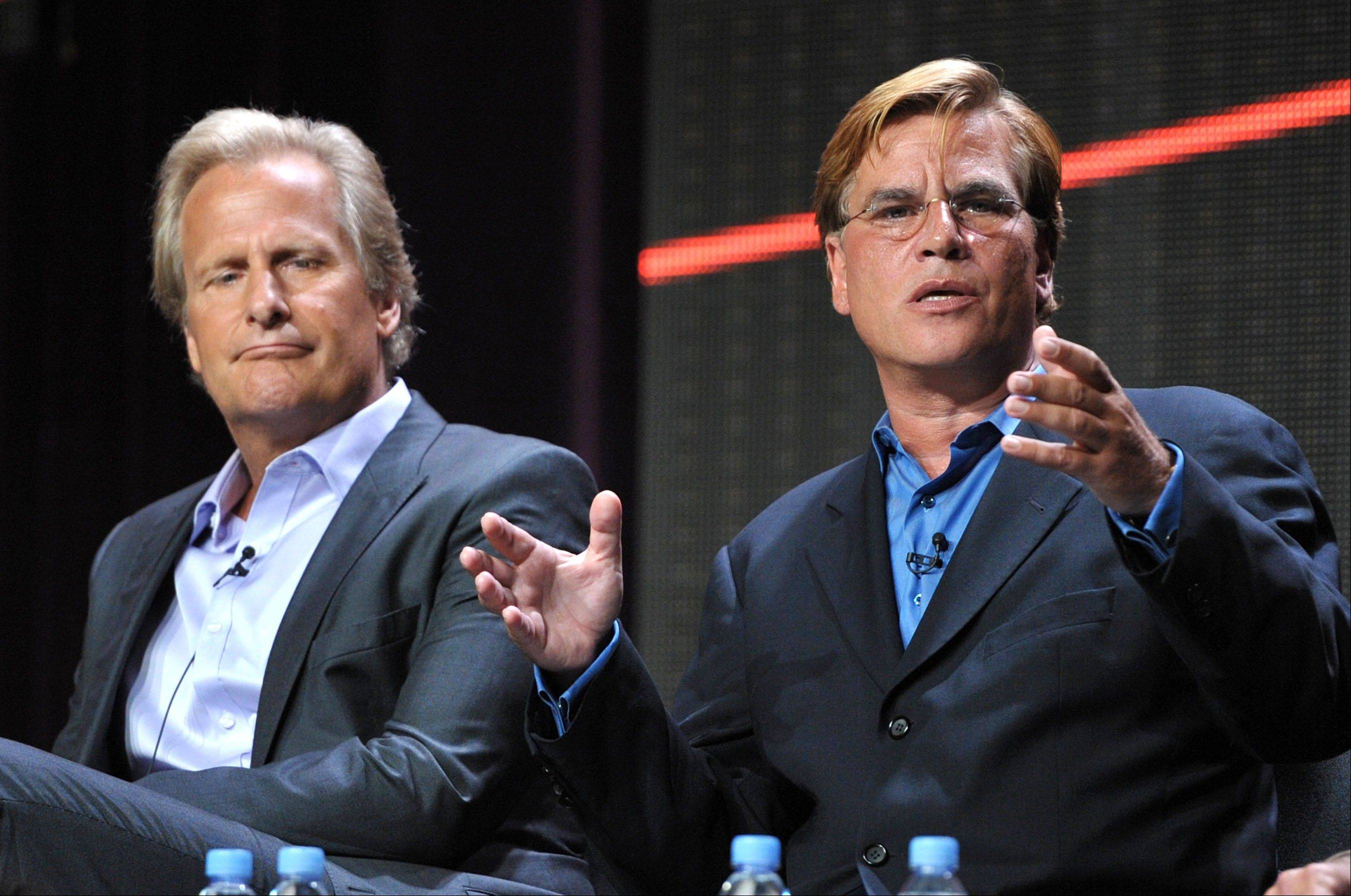 "Actor Jeff Daniels, left, and creator and executive producer Aaron Sorkin appear onstage during HBO's TCA panel for ""The Newsroom"" at the Beverly Hilton hotel on Aug. 1 in Beverly Hills, Calif. The Oscar-winning writer-producer Sorkin defended ""The Newsroom"" and denied reports that he fired his entire writing staff at today's gathering of the Television Critics Association."