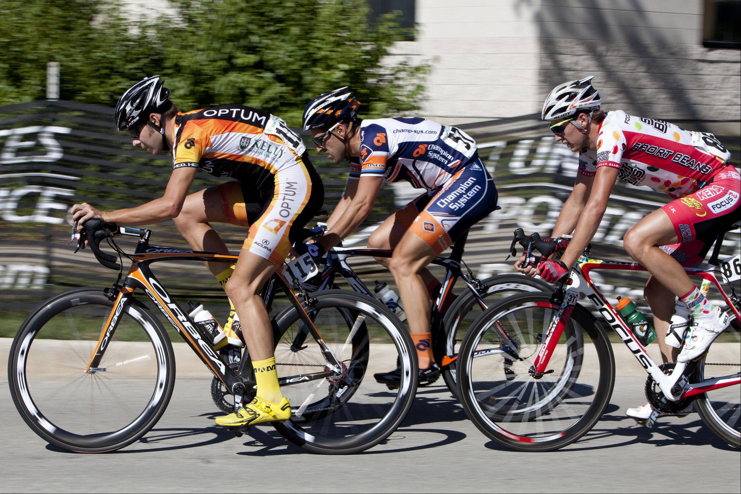 The lead pack of three halfway through the third stage of the Tour of Elk Grove.