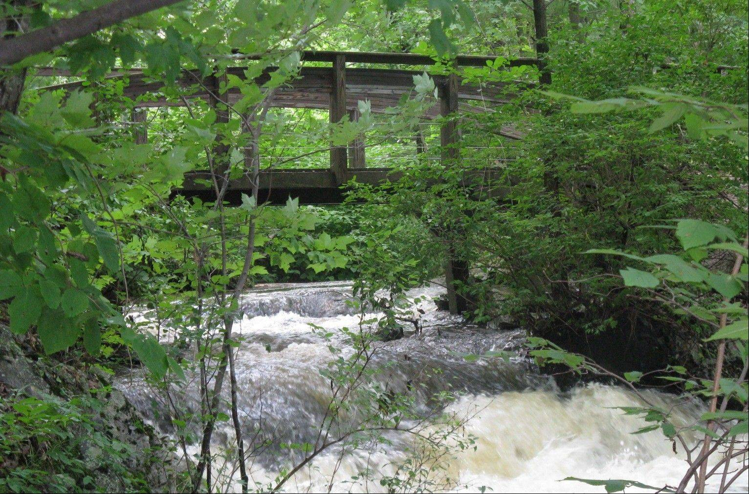 Jewell Falls and the Fore River headwaters bridge in the Fore River Sanctuary is part of 40 miles of free trails in Greater Portland, Maine.