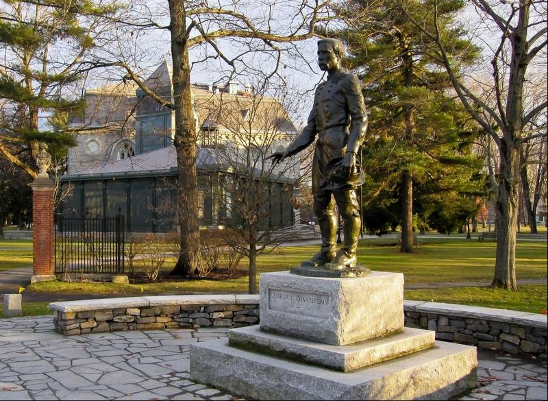 Brunswick maine steeped in art and history courtesy of bowdoin college a statue of joshua chamberlain in brunswick maine is located on the grounds of sciox Image collections