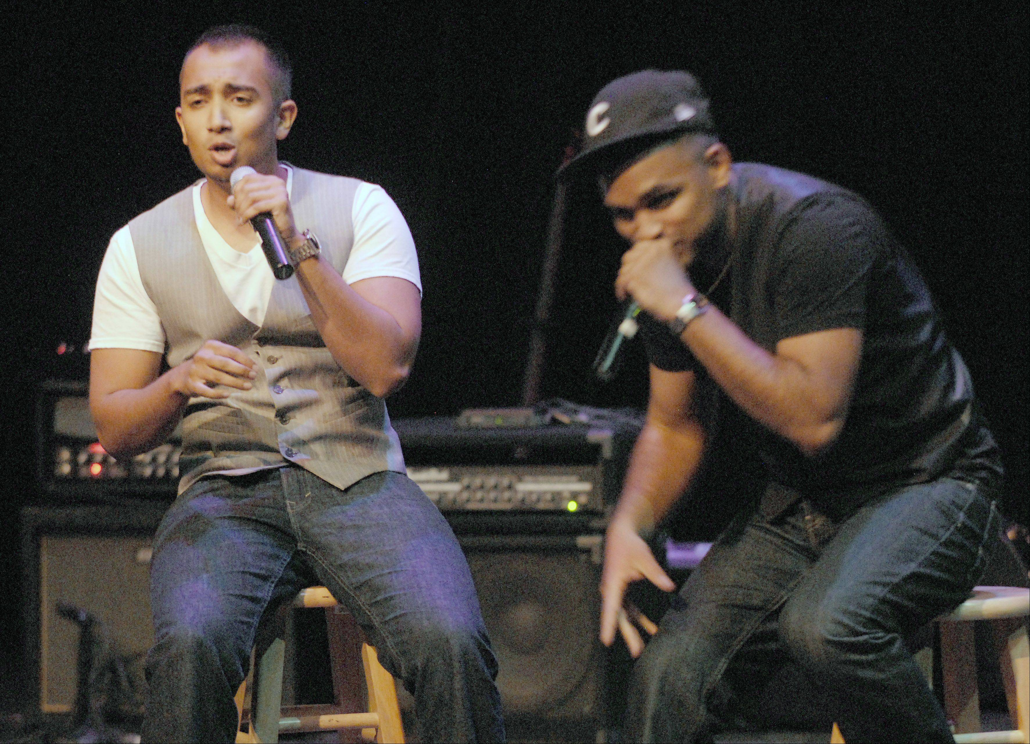 iLLest Vocals featuring Sanu John, 25, of Skokie and Shawn Kurian, 25, of Wheeling perform as one of the five finalists of Suburban Chicago's Got Talent for the judges and fans at the Metropolis Performing Arts Centre Sunday in Arlington Heights.