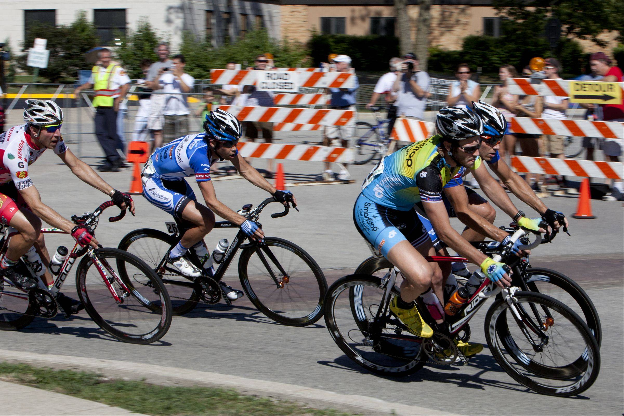 Men's pro cyclists in the third stage of the Tour of Elk Grove.