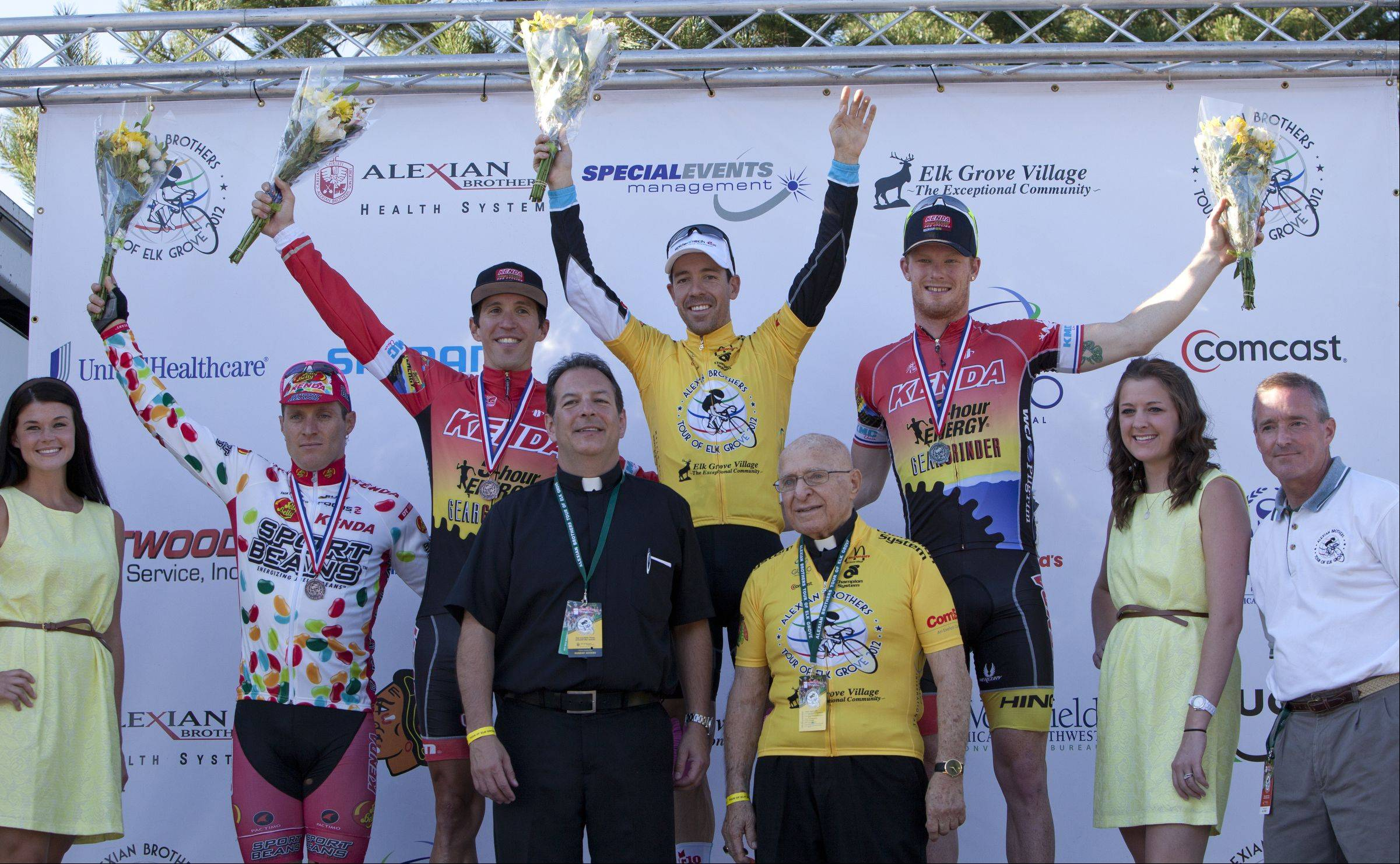 Men's top five three-day overall places, from left, fifth place, Brad Huff, third place, Andy Jacques-Maynes, first place, Francois Parisien, (not pictured fourth place, Robert Forester) at Alexian Brothers Tour of Elk Grove Union Cycliste Internationale