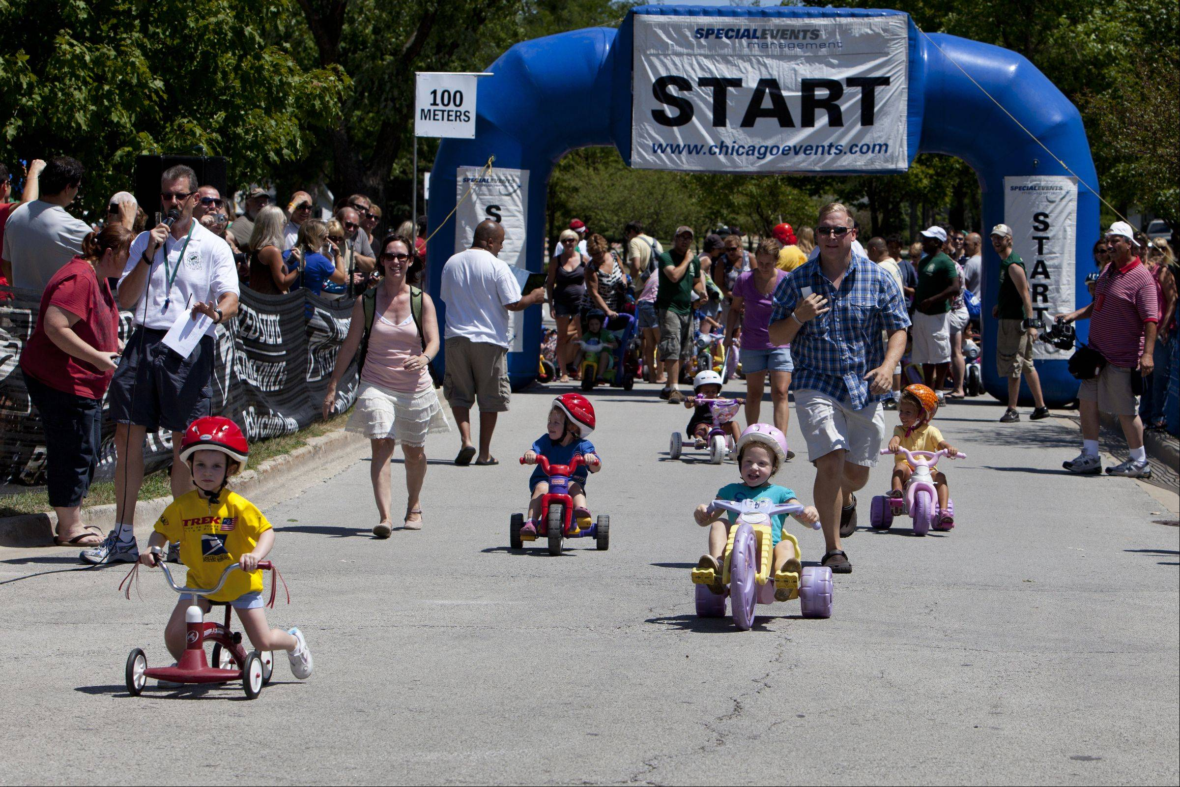 Participants in the Shamino Big Wheels take off during the third day of the Tour of Elk Grove.