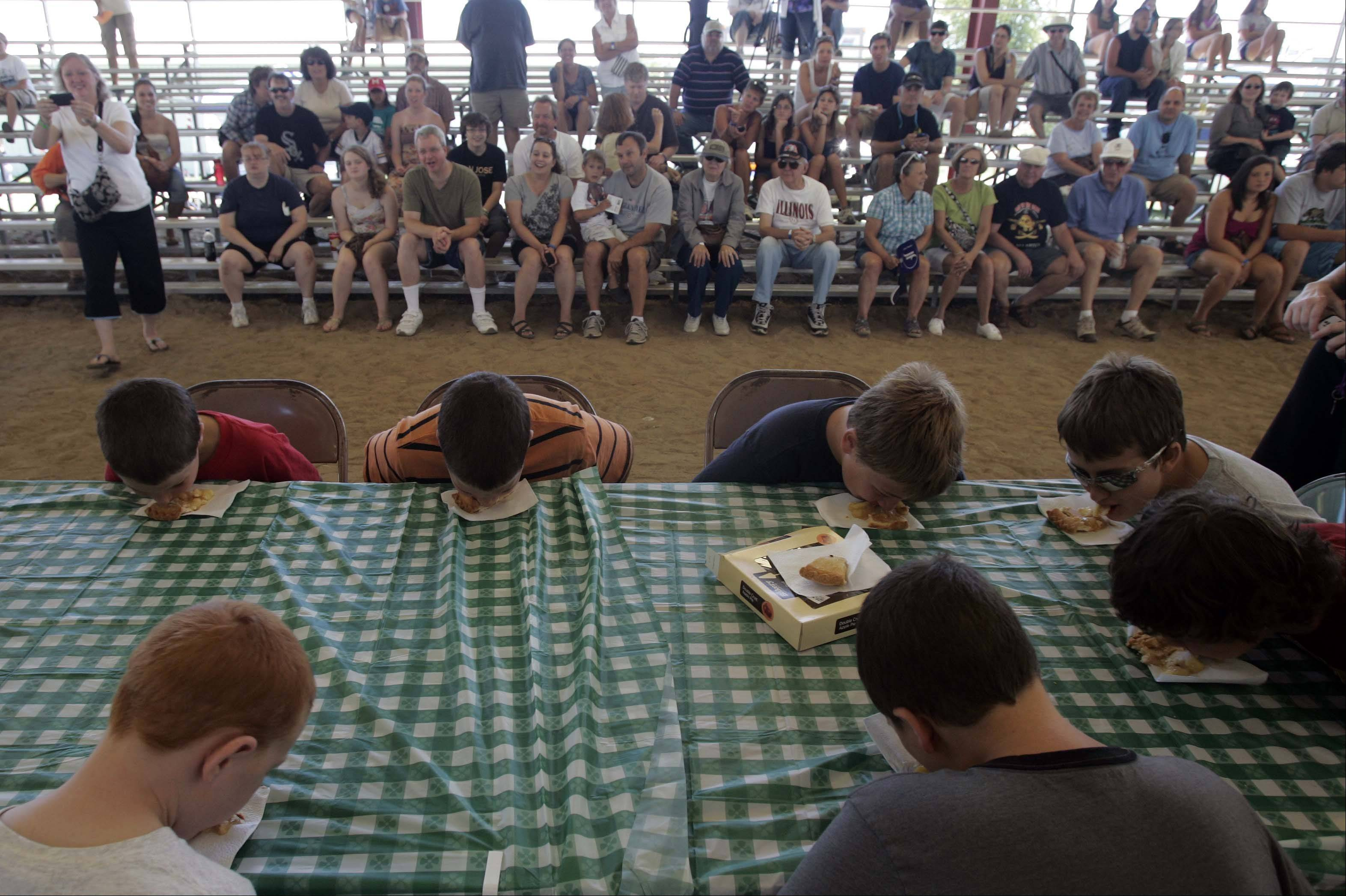 The six to twelve year-olds get a face full of pie during the pie eating contest at the McHenry County Fair Sunday August 5, 2012 in Woodstock.