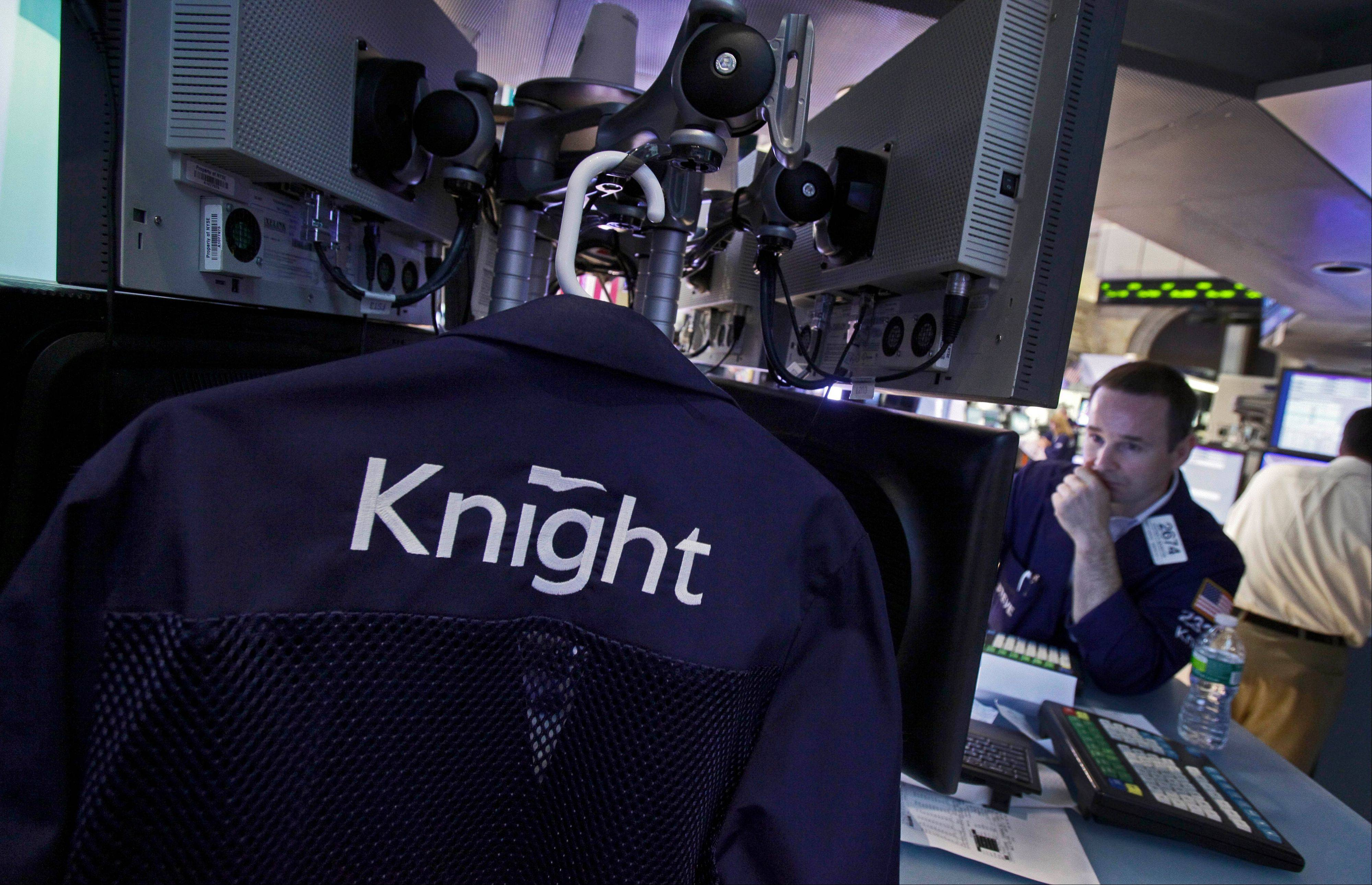 Knight Capital traders jacket hangs inside a post on the floor of the New York Stock Exchange after the close of trading Friday