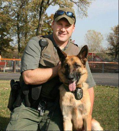 Round Lake Area Park District Ranger police officer Terry Kaminski and his dog, Nadja.