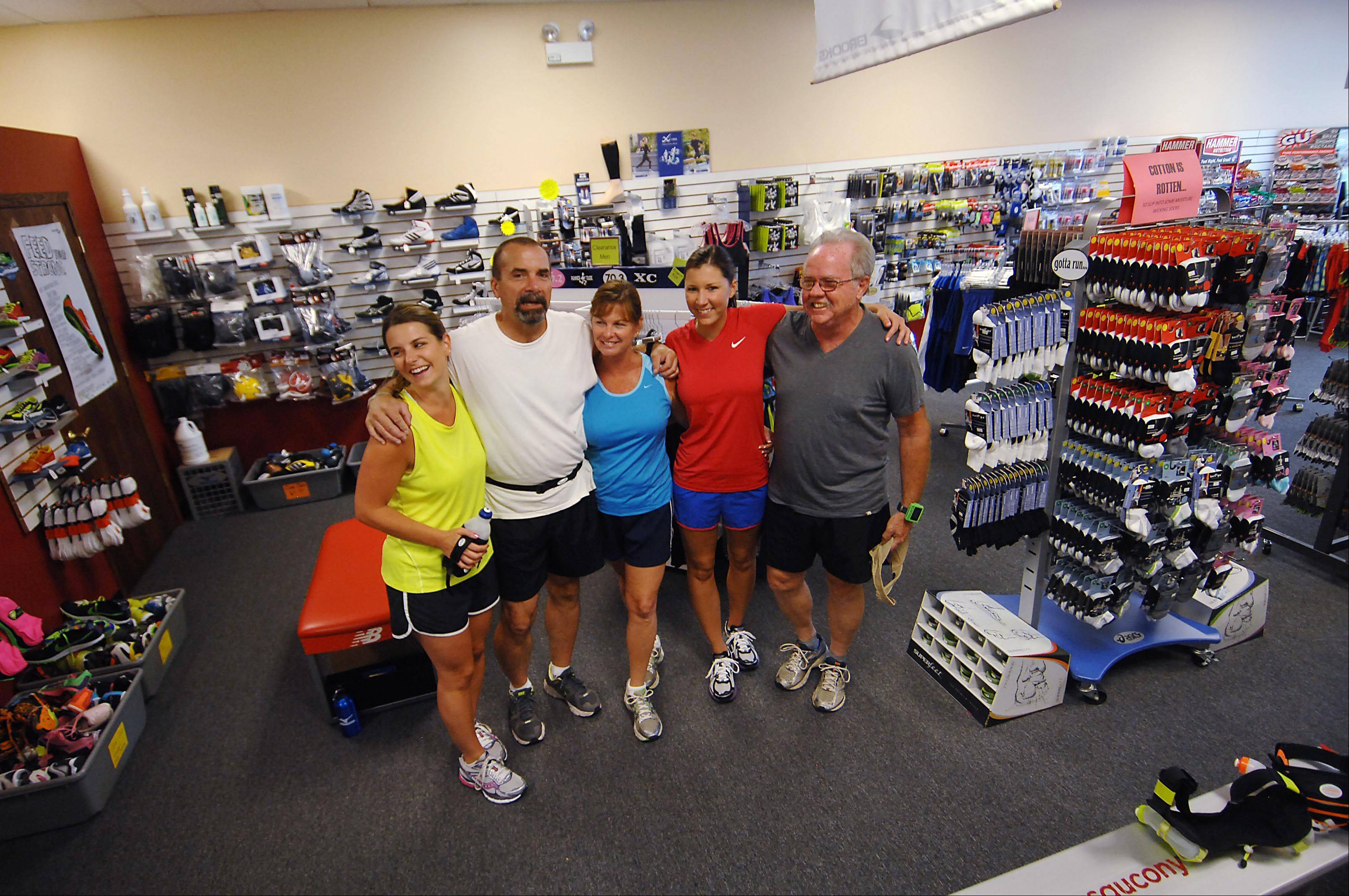 The Shlub Club, a group of runners that meets at Dick Pond Athletics in Carpentersville, takes part in the Walk 2 Run program. From left are Carolyn Chesta, Paul Turnbaugh, Donna Hayes, Nicole Kotelman and Joe Maney.