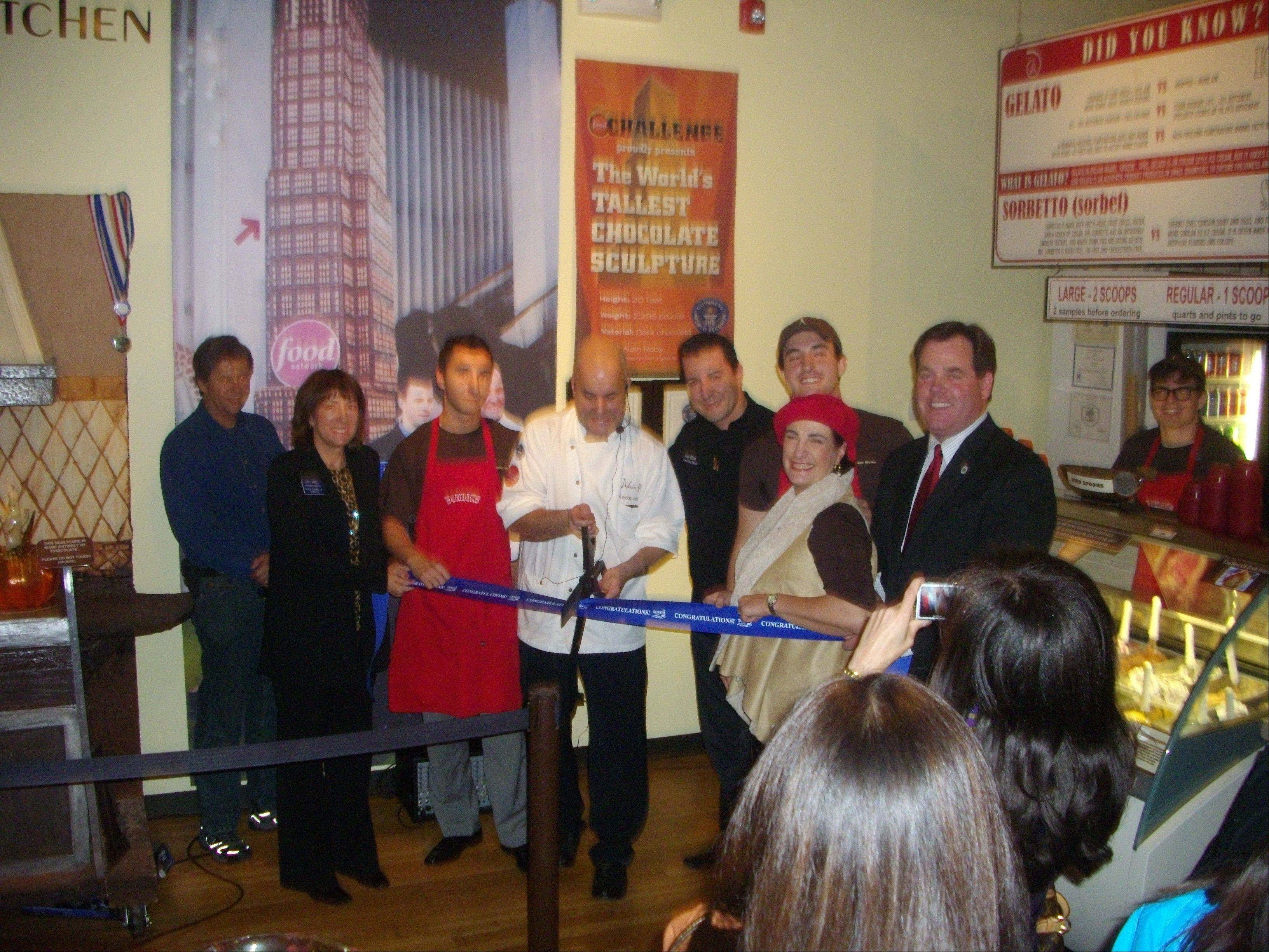 Chef Alain Roby cuts the ribbon for the All Chocolate Kitchen in Geneva last year.