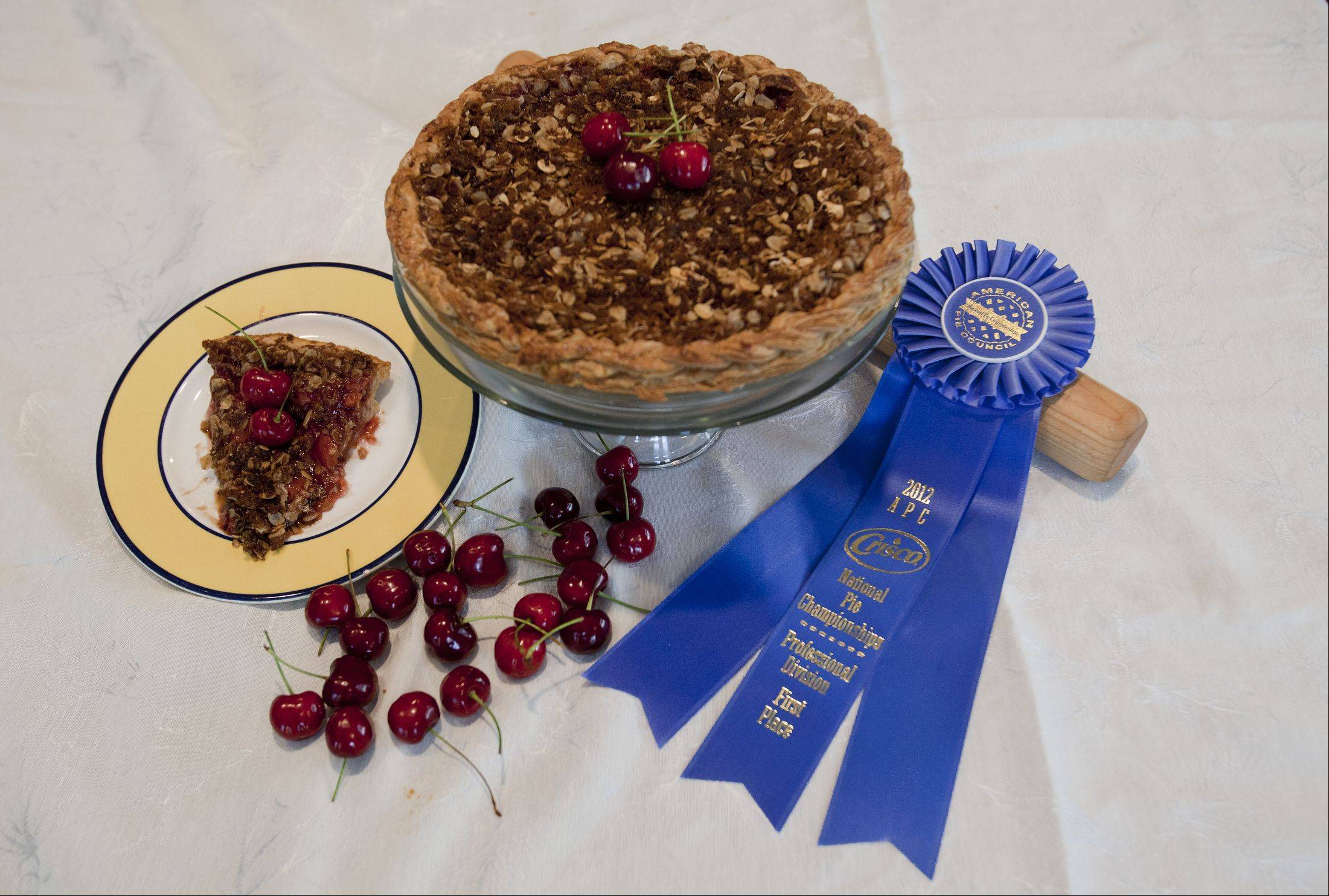 Chef Matt Zagorski won a blue ribbon for his oatmeal-topped cherry pie at the American Pie Council/Crisco National Pie Championship earlier this year.