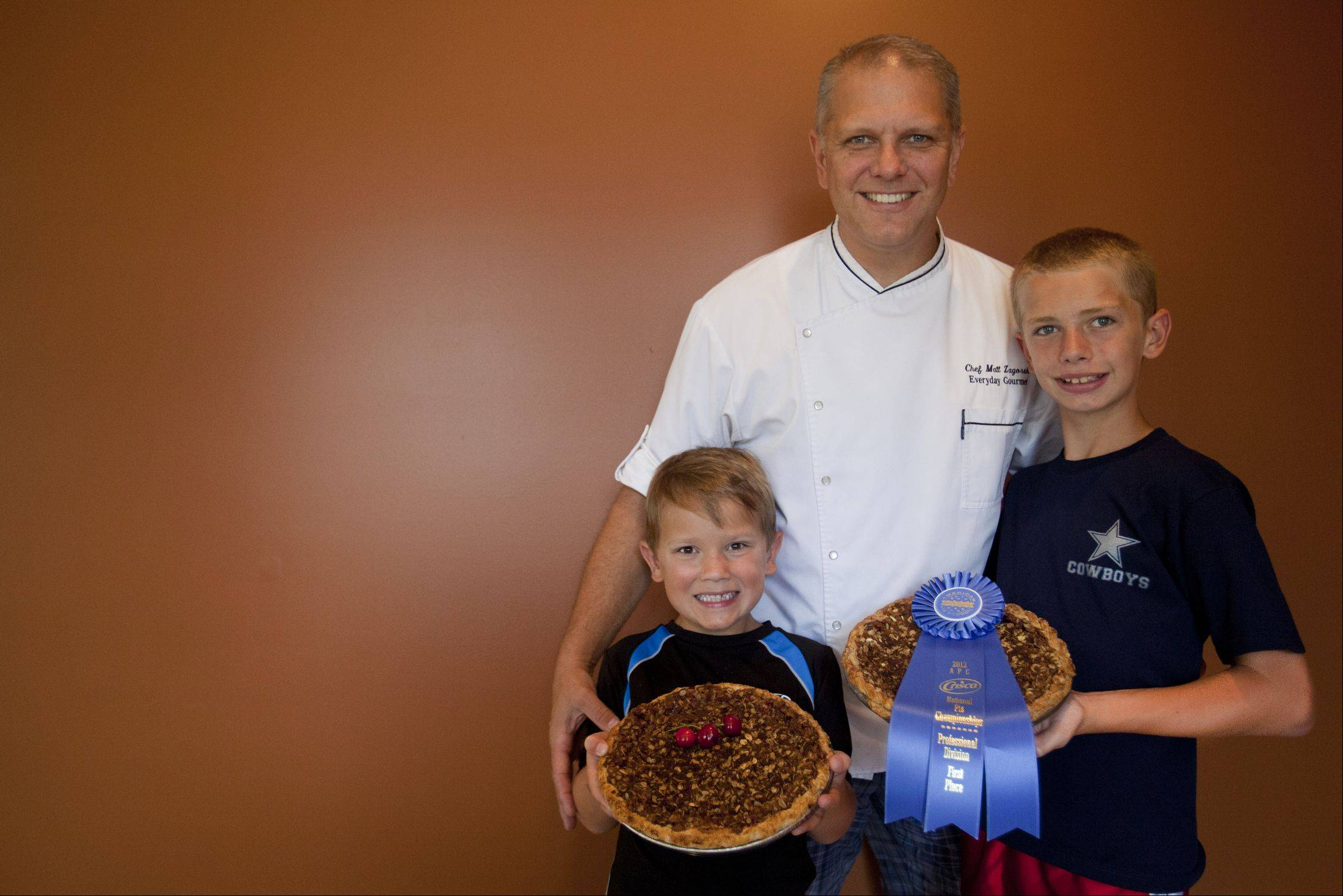 When he's not perfecting pie recipes, chef Matt Zagorski spends time with his sons, Max, 7, at left, and Zach, 11.