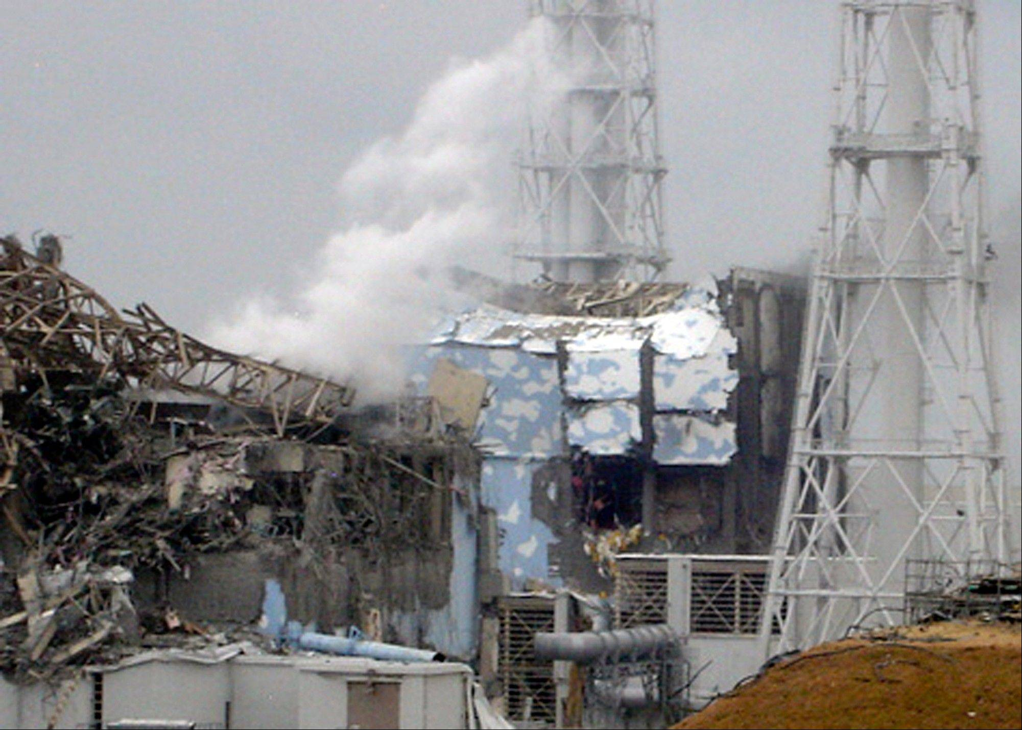 In this March 15, 2011, photo, smoke rises from the badly damaged Unit 3 reactor, left, next to the Unit 4 reactor covered by an outer wall at the Fukushima Dai-ichi nuclear complex in Okuma, northeastern Japan. The emergency command center at Japan's stricken nuclear plant shook violently when hydrogen exploded at Unit 3 during the crisis last year.