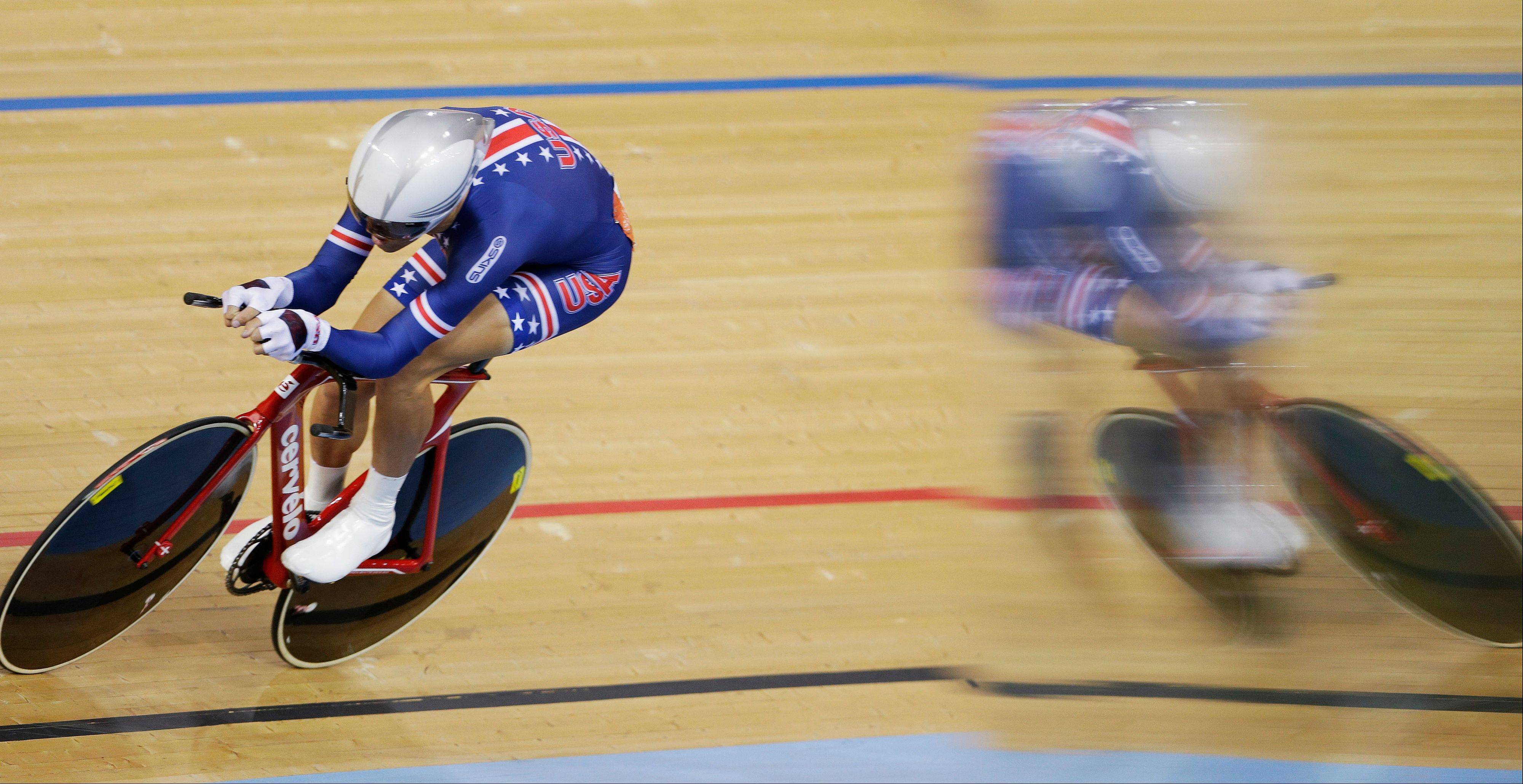 Bobby Lea of The United States competes in the track cycling men's omnium individual pursuit, during the 2012 Summer Olympics in London, Sunday, Aug. 5, 2012.