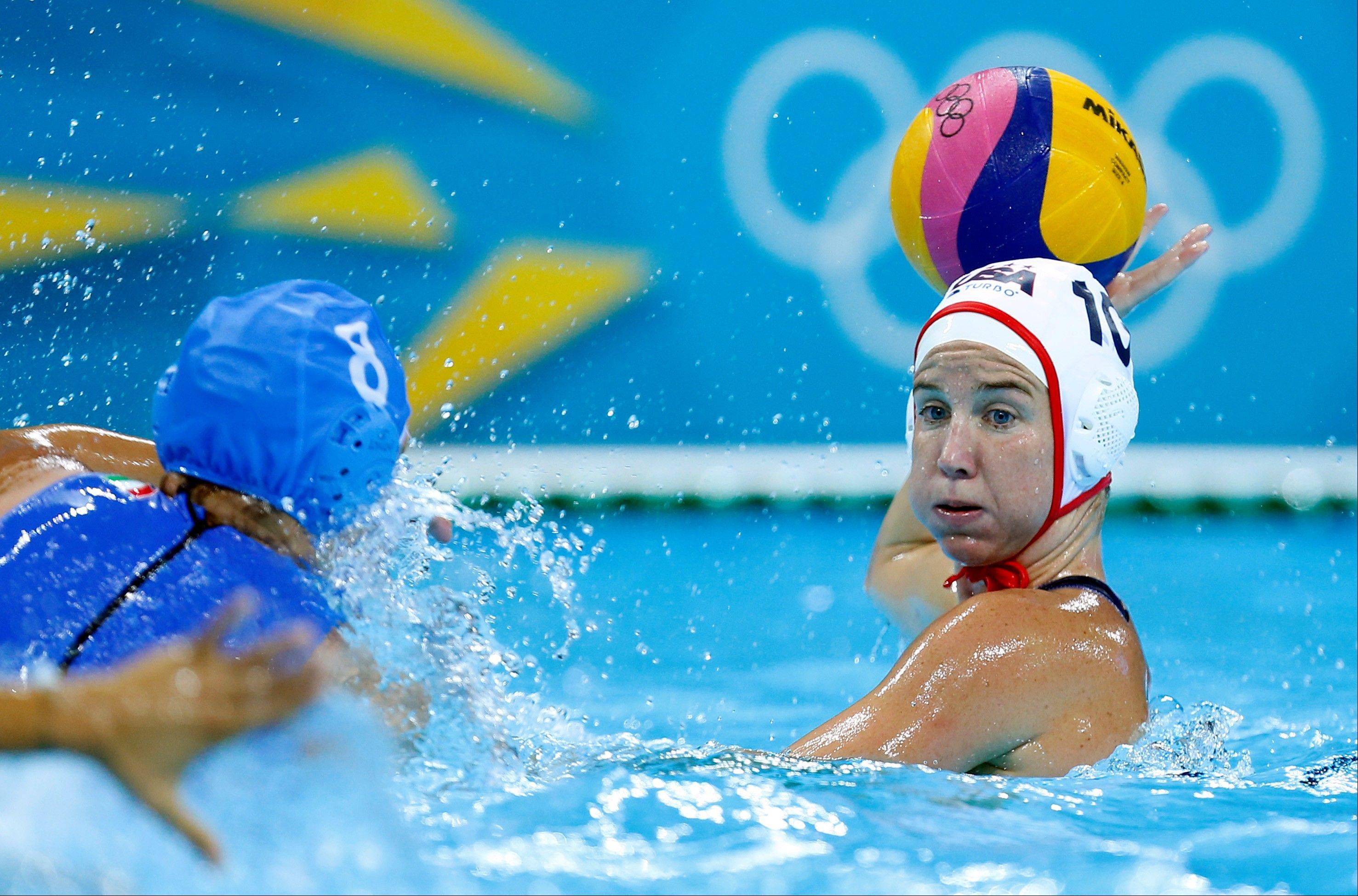 Kelly Rulon of the United States, right looks to pass the ball forward as Roberta Bianconi of Italy moves to block during their women's water polo quarterfinal match at the 2012 Summer Olympics, Sunday, Aug. 5, 2012, in London.