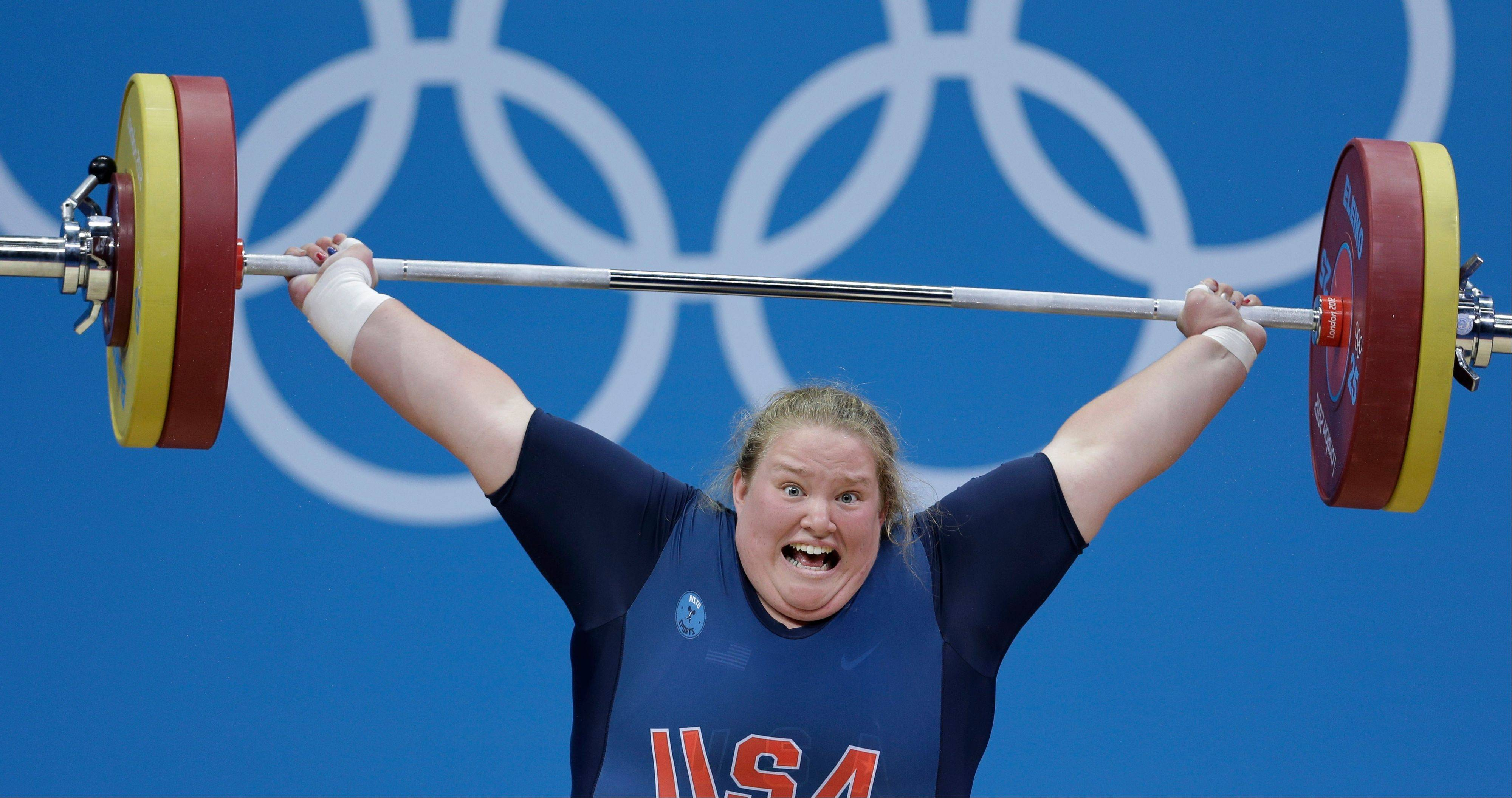 United States' Holley Mangold competes during women's +75-kg, weightlifting competition at the 2012 Summer Olympics, Sunday, Aug. 5, 2012, in London.