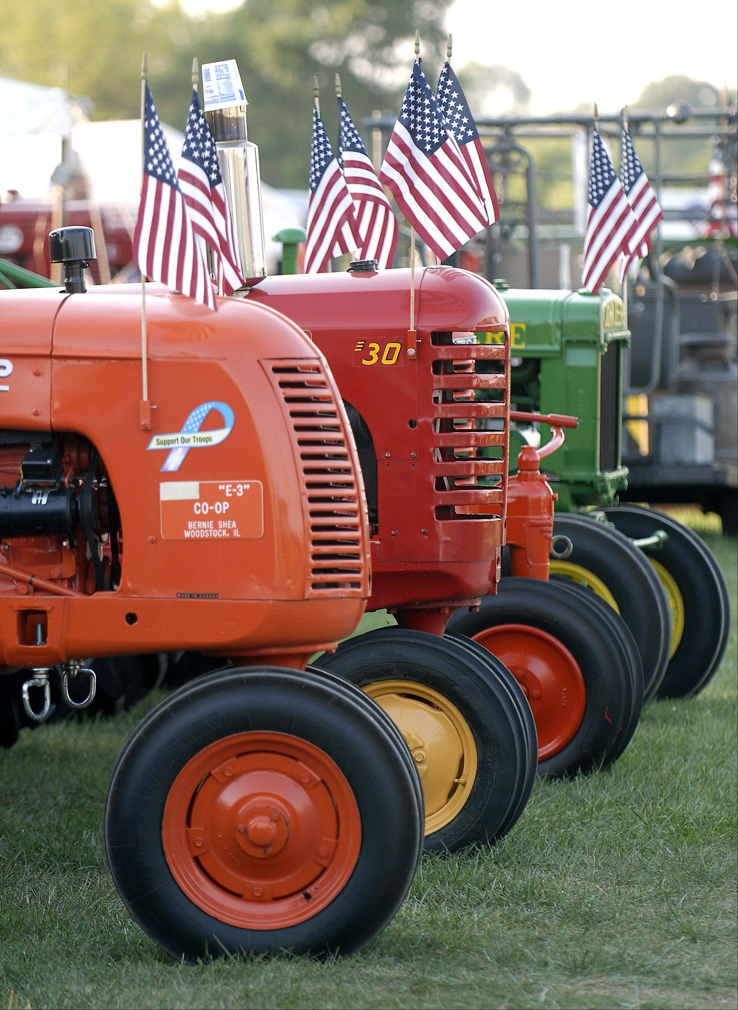 Stars and stripes decorate tractors on display at the McHenry County Fair on Wednesday, August 1.