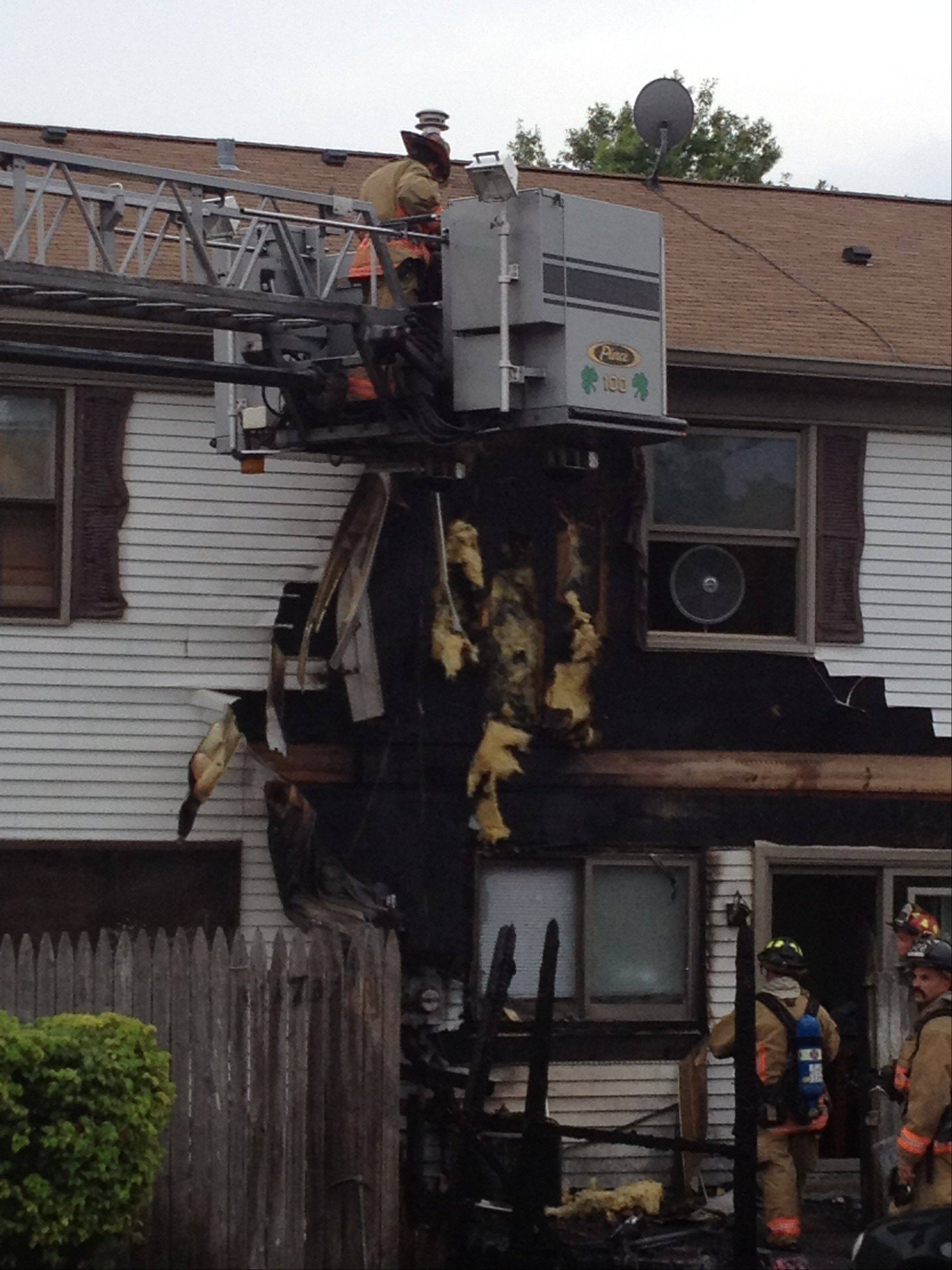 Damage to a townhouse complex on the 1700 block of Sussex Walk was from a fire on July 29 that fire officials say may have been started by charcoal grill waste.