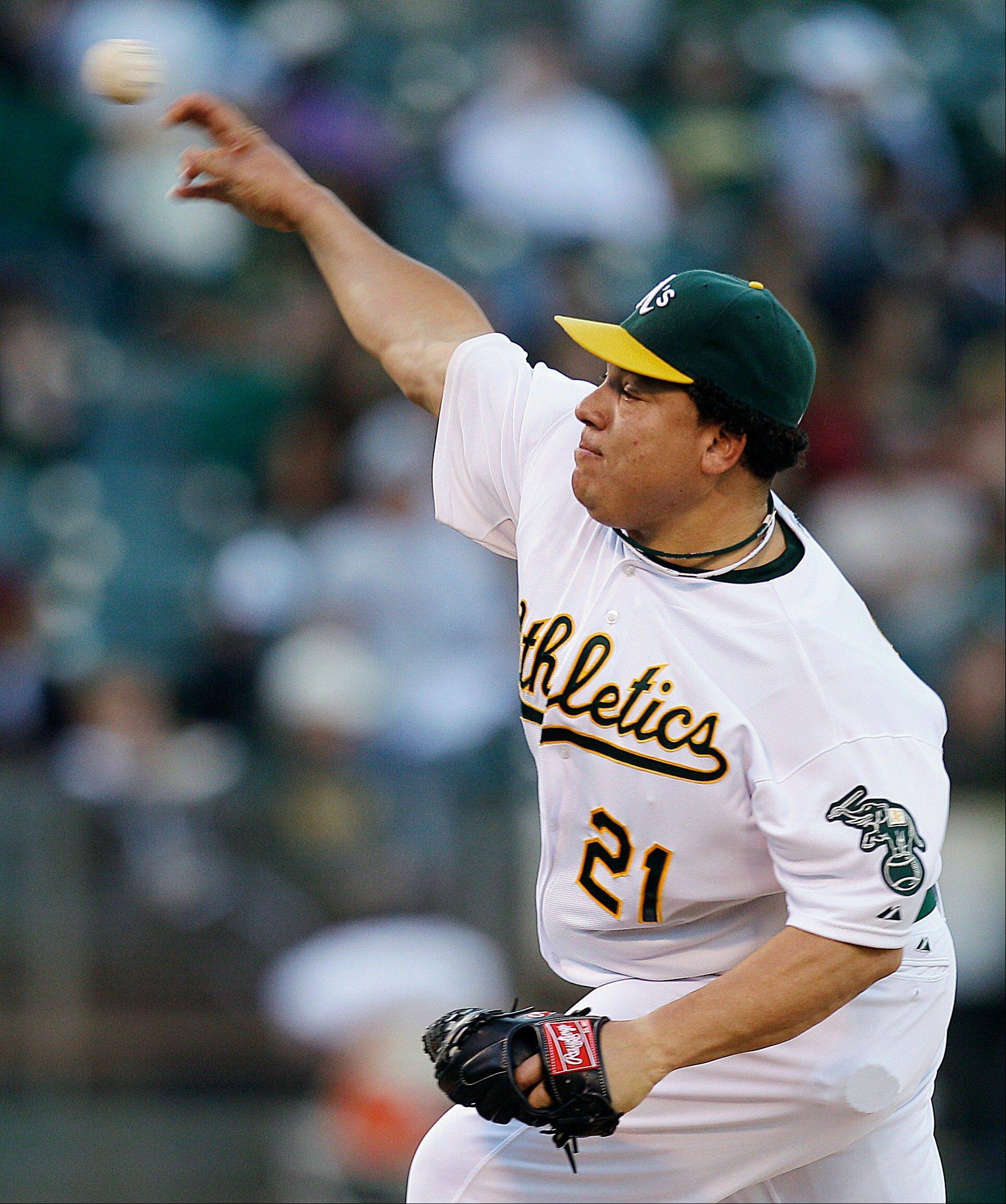 Oakland starter Bartolo Colon allowed four hits over seven innings Tuesday at home against the Angels.