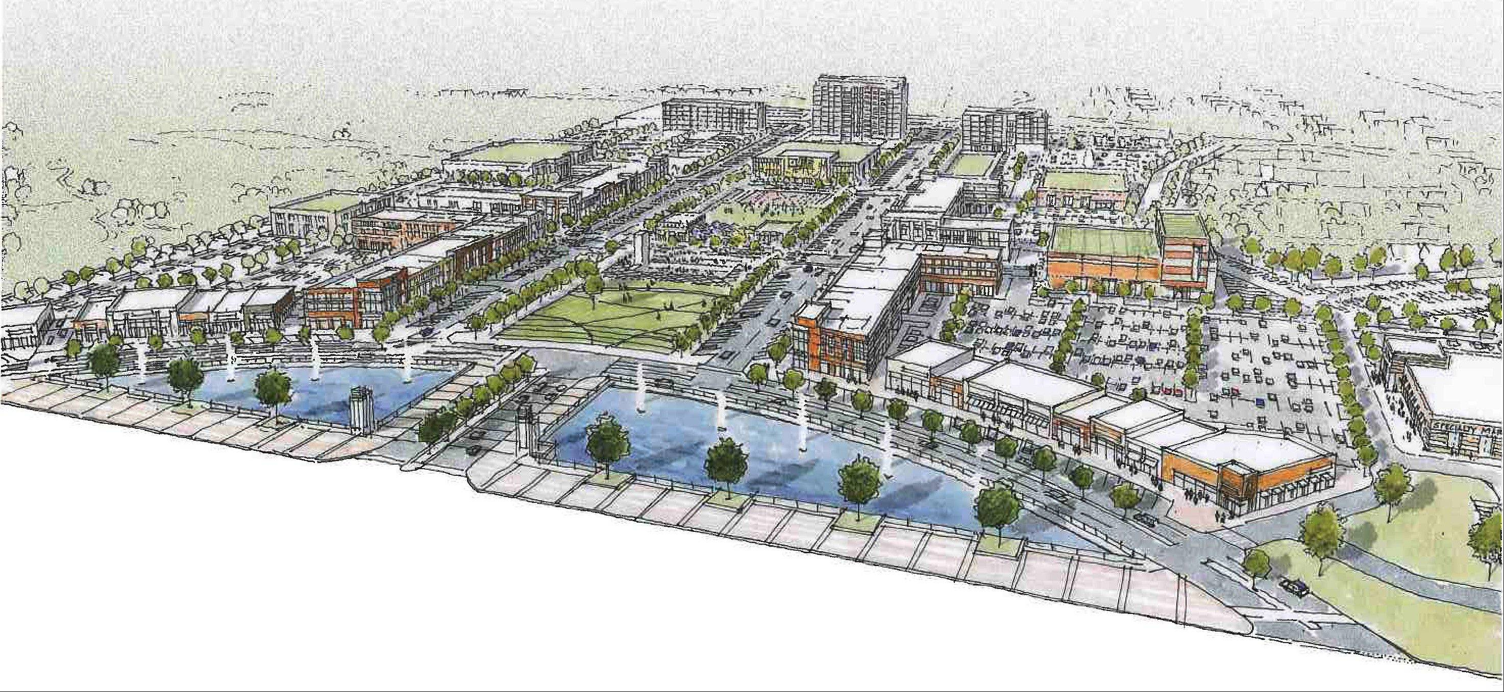 A sketch of what the proposed development in Buffalo Grove might look like.