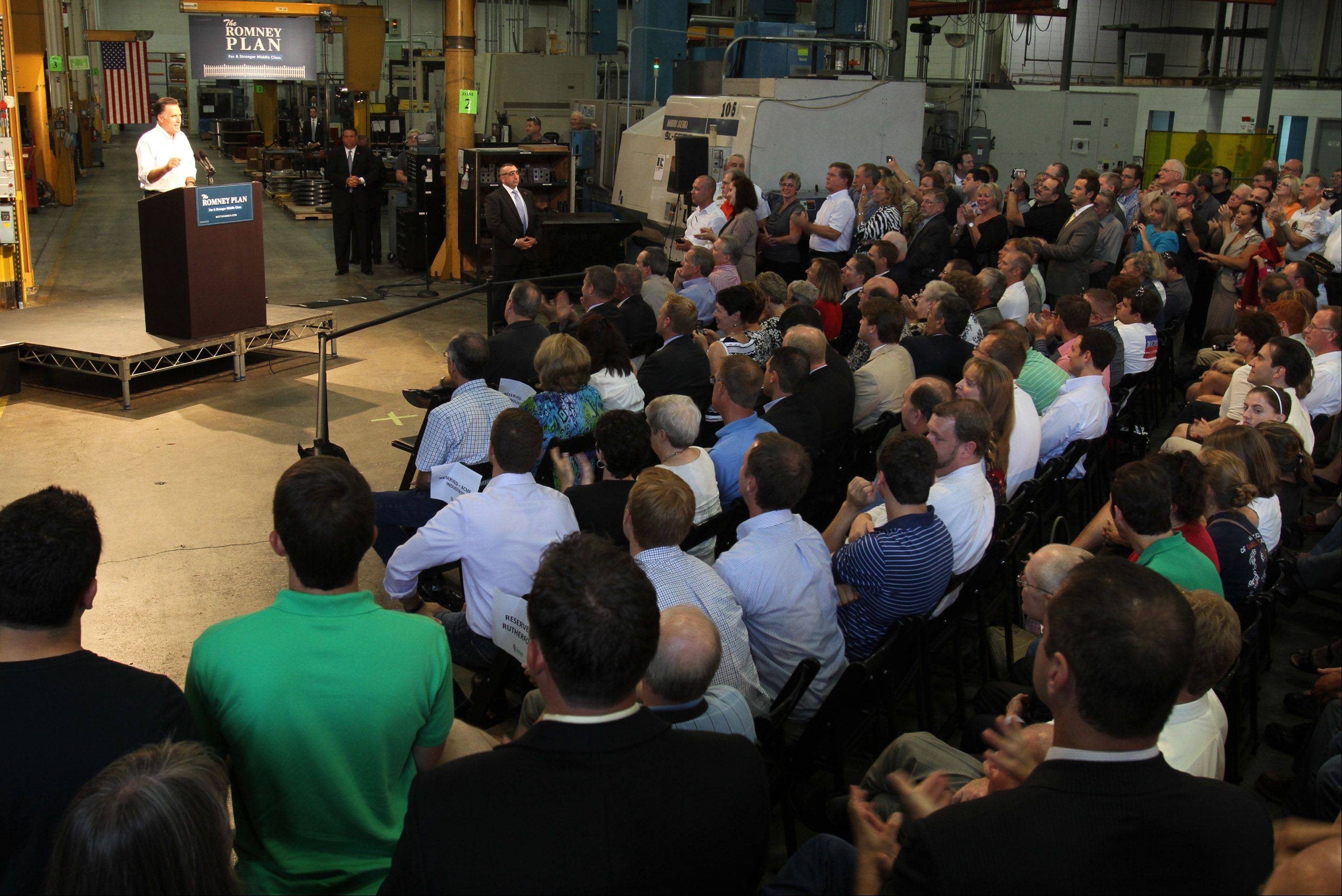 GOP Presidential candidate Mitt Romney speaks at Acme Industries in Elk Grove Village on Tuesday, August 7.