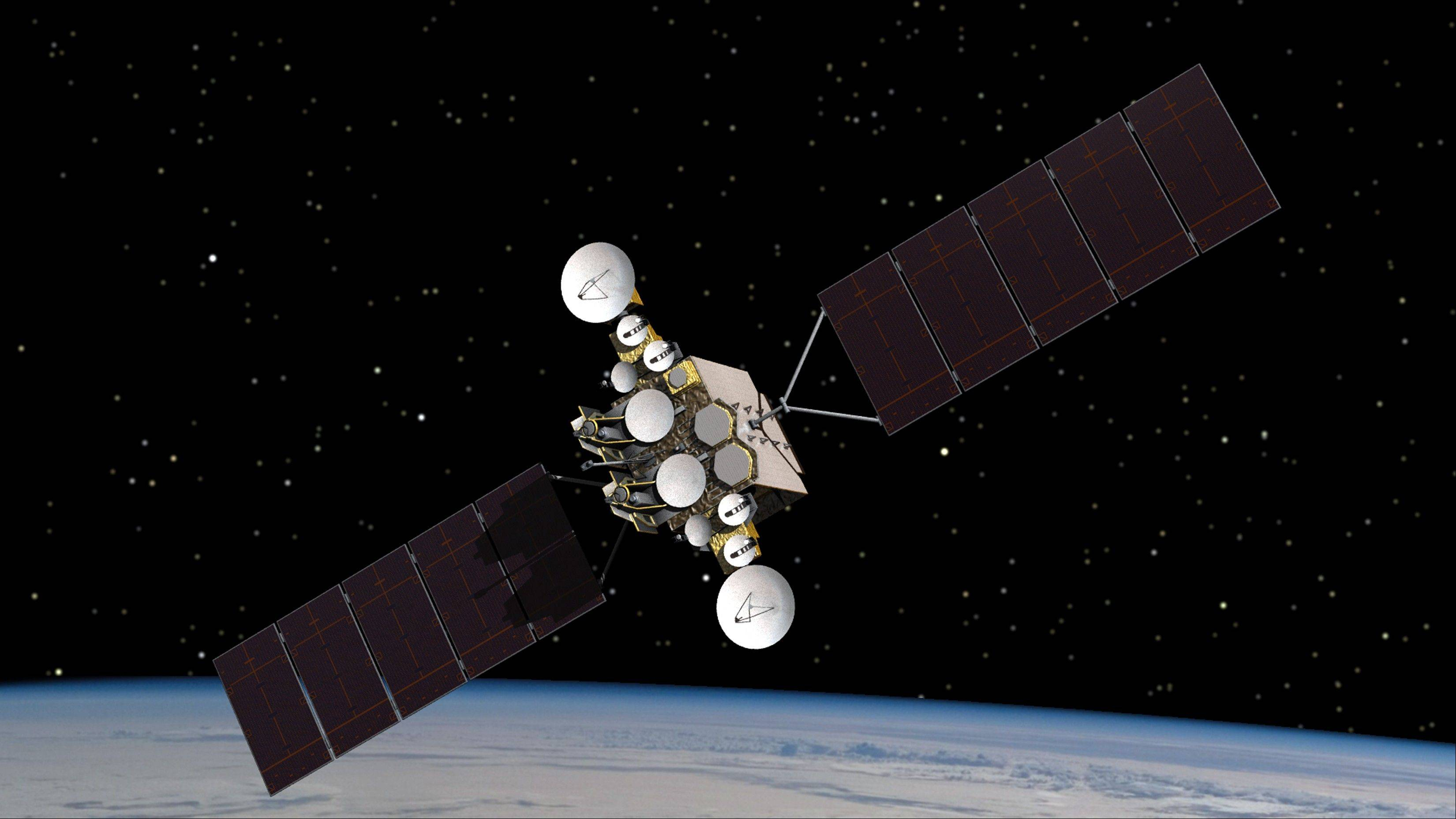 This artist rendering provided by the U.S. Air Force, shows the AEHF-1 satellite in orbit above the earth.