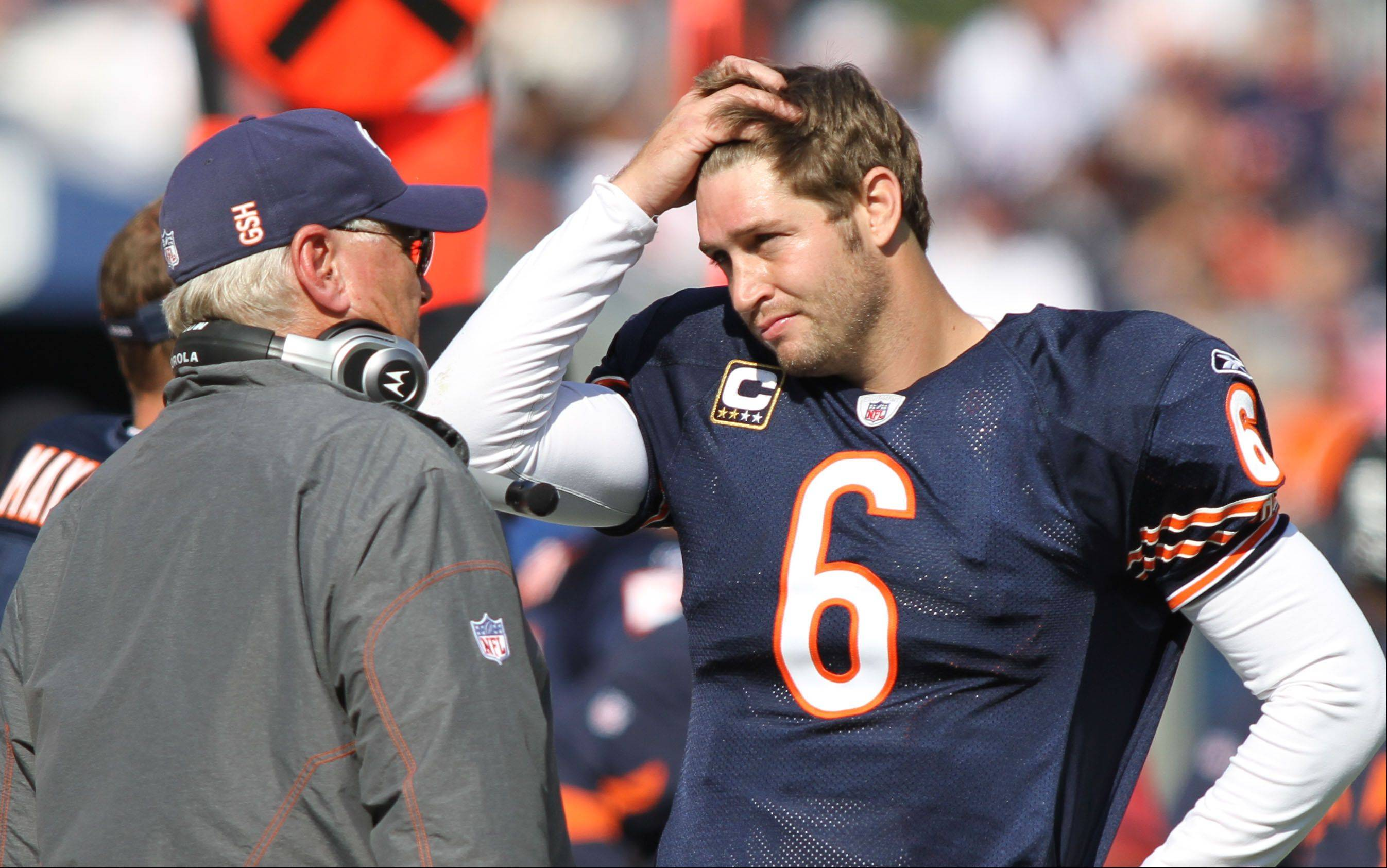 Former Chicago Bears offensive coordinator Mike Martz, here talking with Jay Cutler, has joined FOX as an NFL analyst this fall.