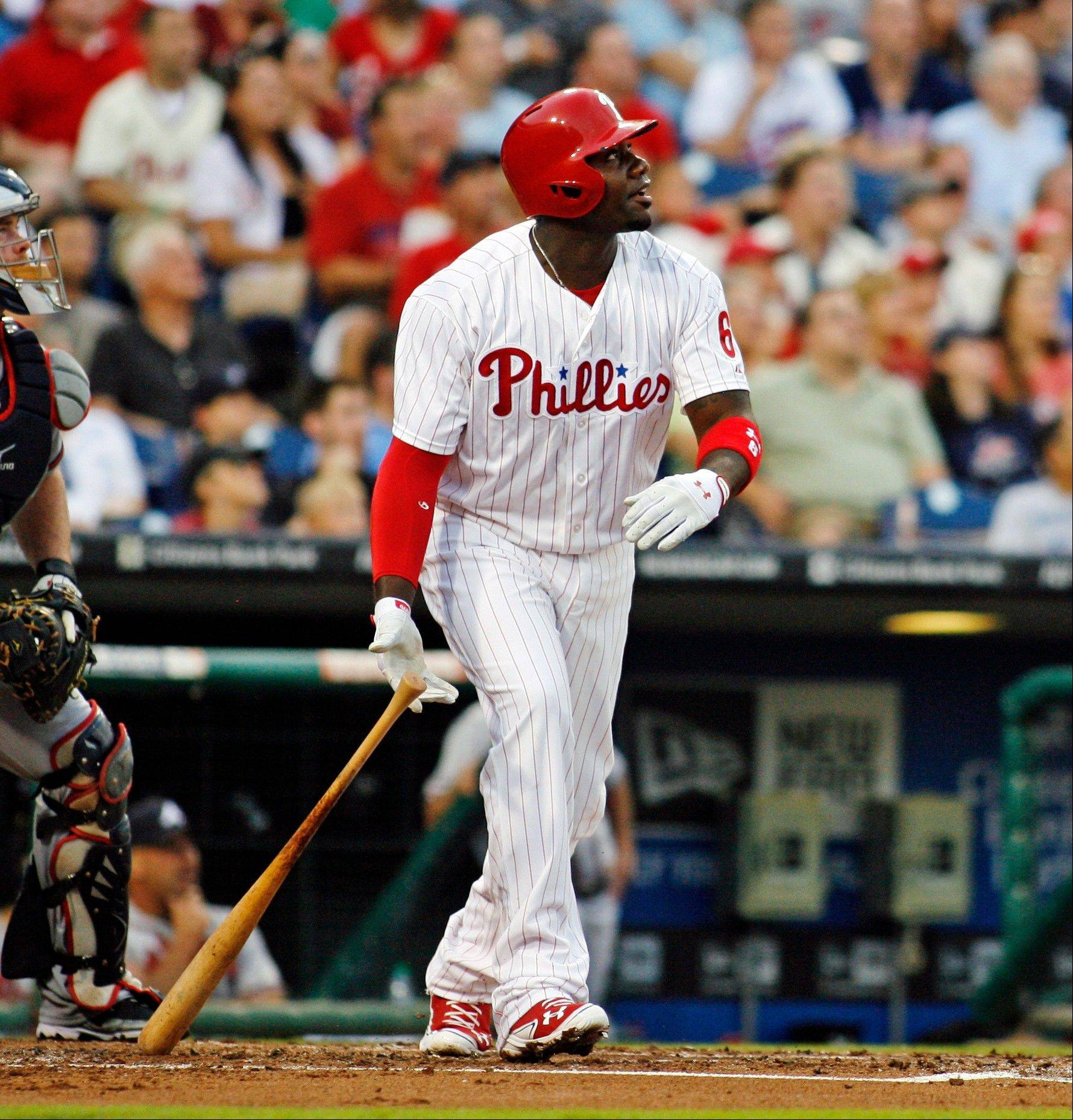 Philadelphia Phillies first baseman Ryan Howard watches his two-run home run against the Atlanta Braves Tuesday during the first inning.