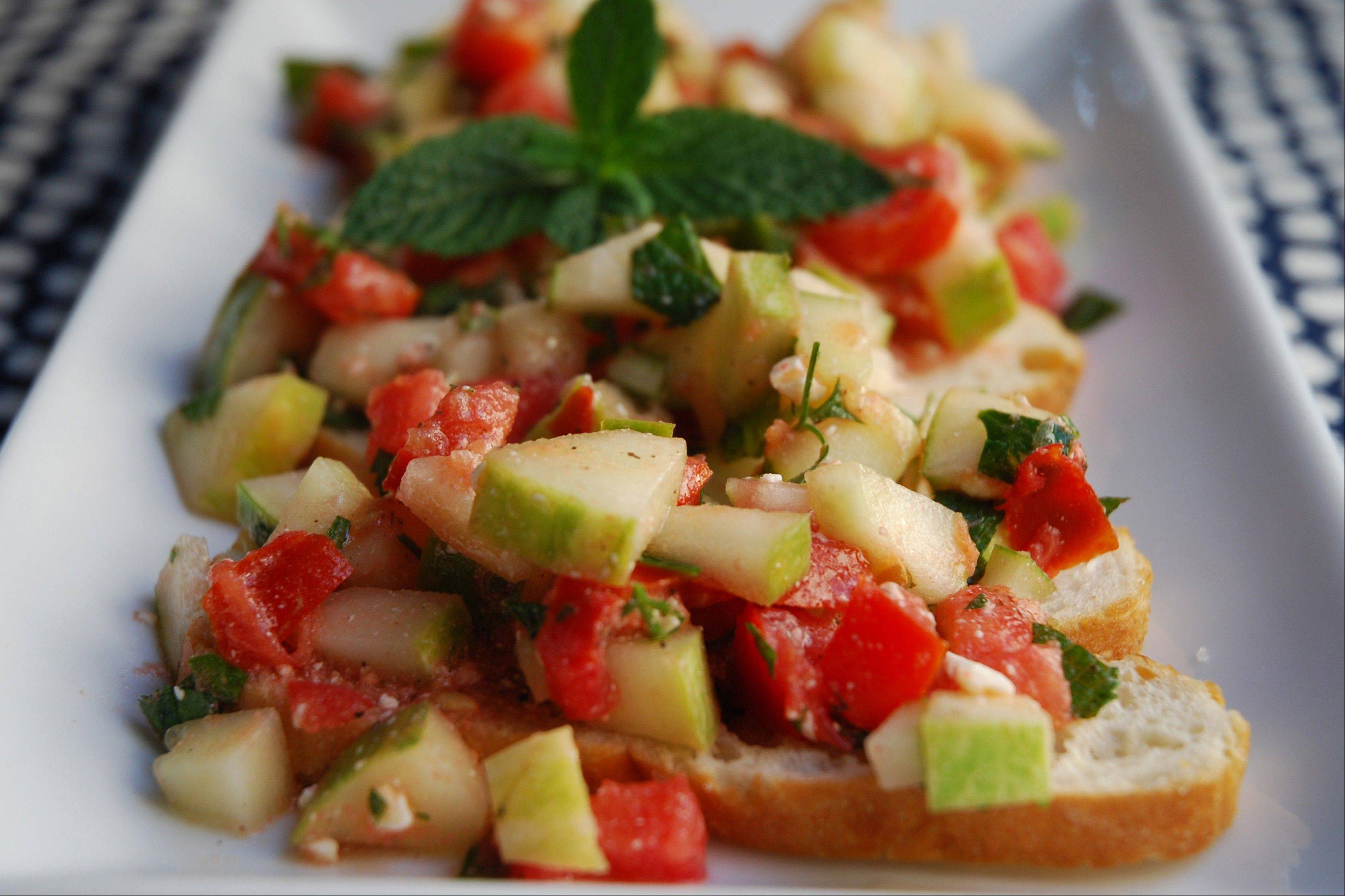 Summer's bounty of cukes and tomatoes combine for a fancy appetizer.